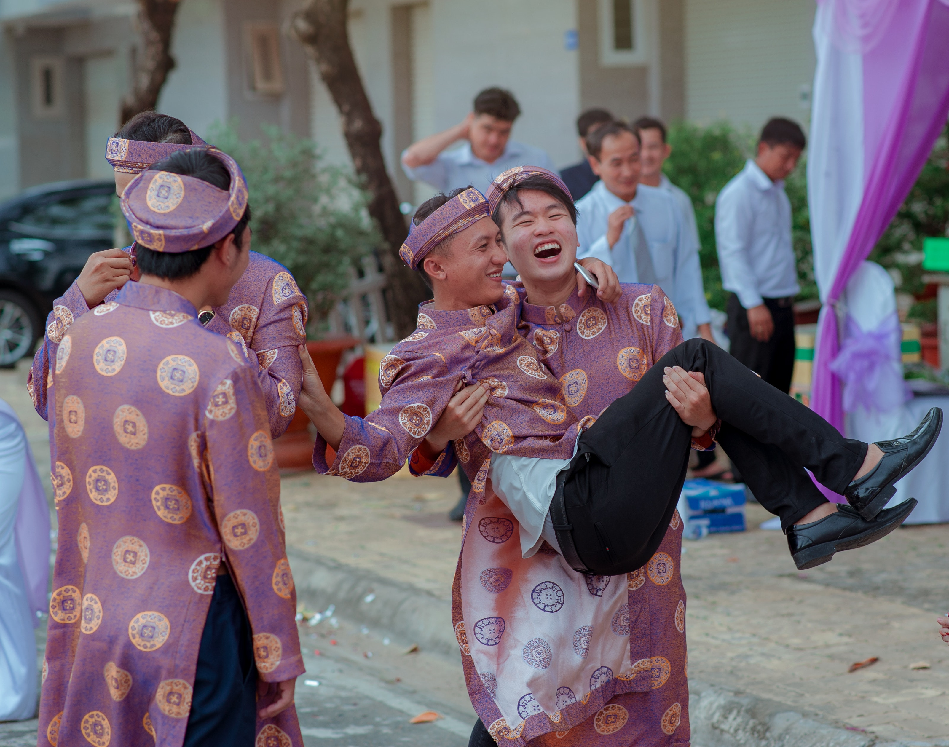 Several Men Wearing Purple-and-gold Traditional Dresses, Car, Celebration, Culture, Daylight, HQ Photo