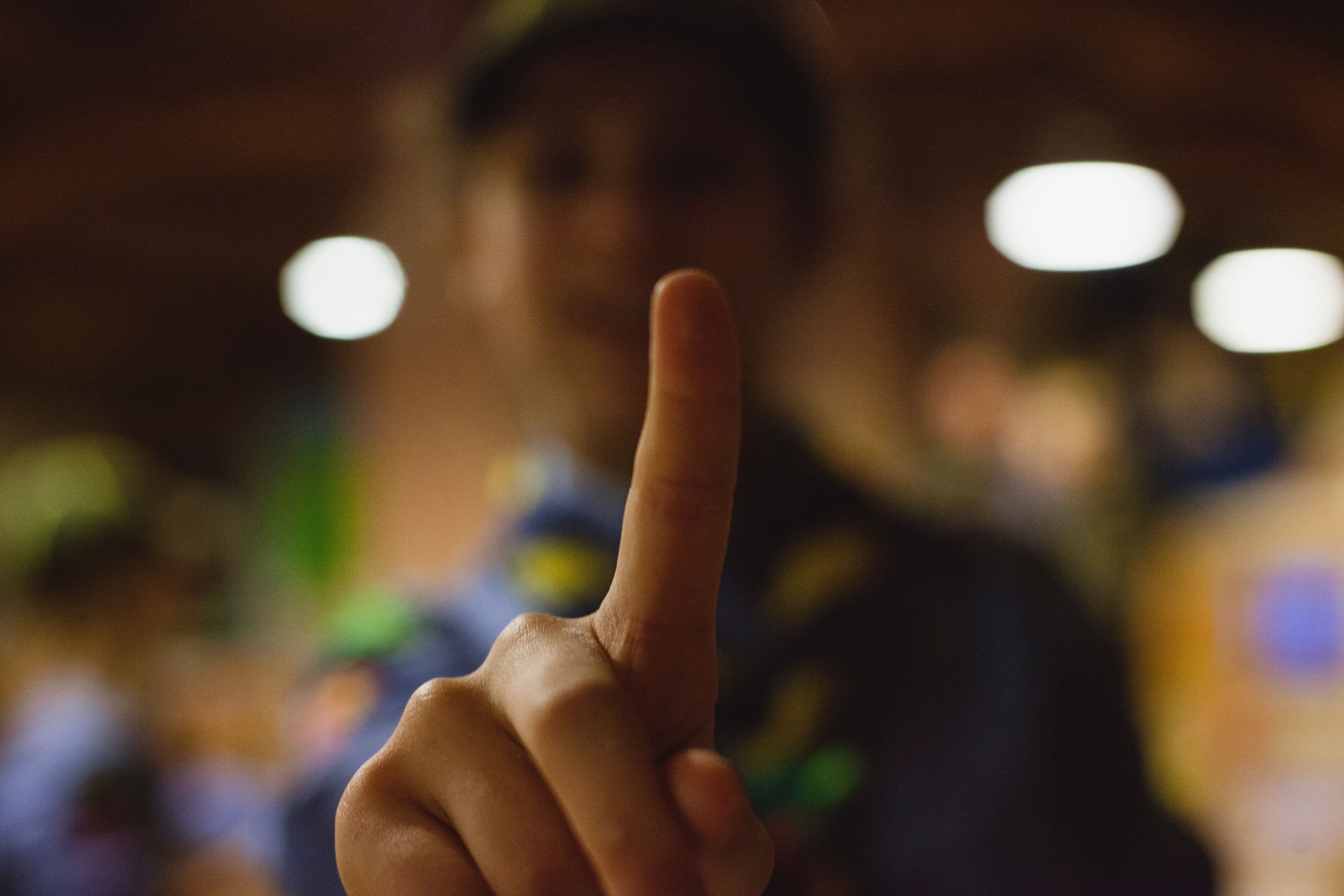 Shadow Depth of Field Photography of Human Index Finger, Lights, Young, Wear, Smile, HQ Photo