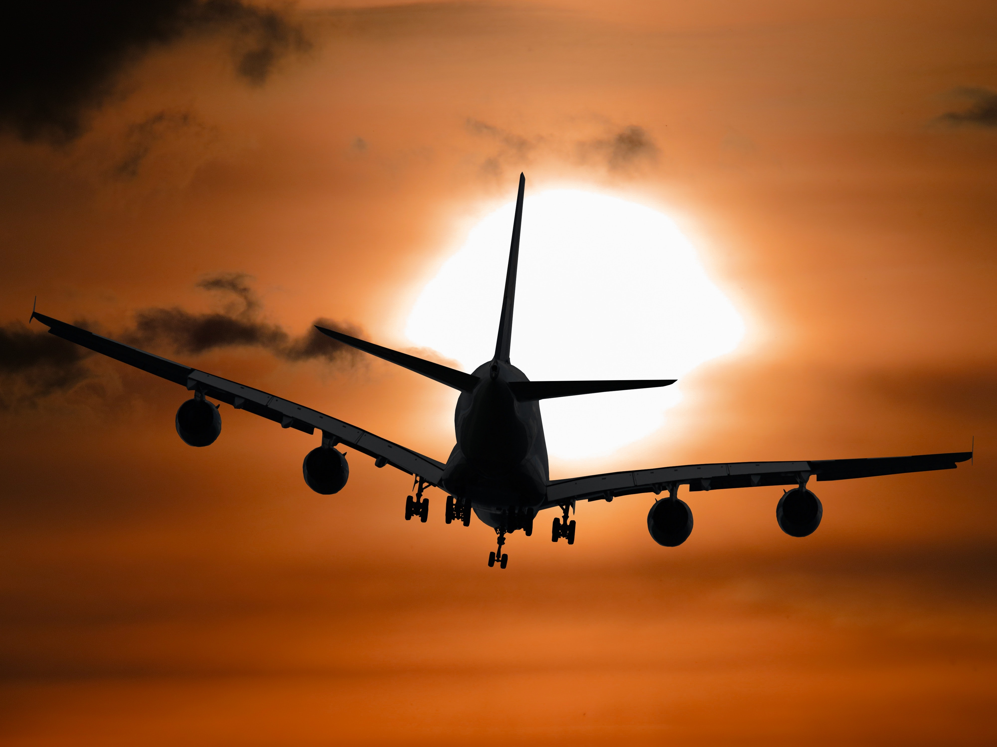Shadow Image of a Plane Flying during Sunset, Aeroplane, Aircraft, Airplane, Aviation, HQ Photo