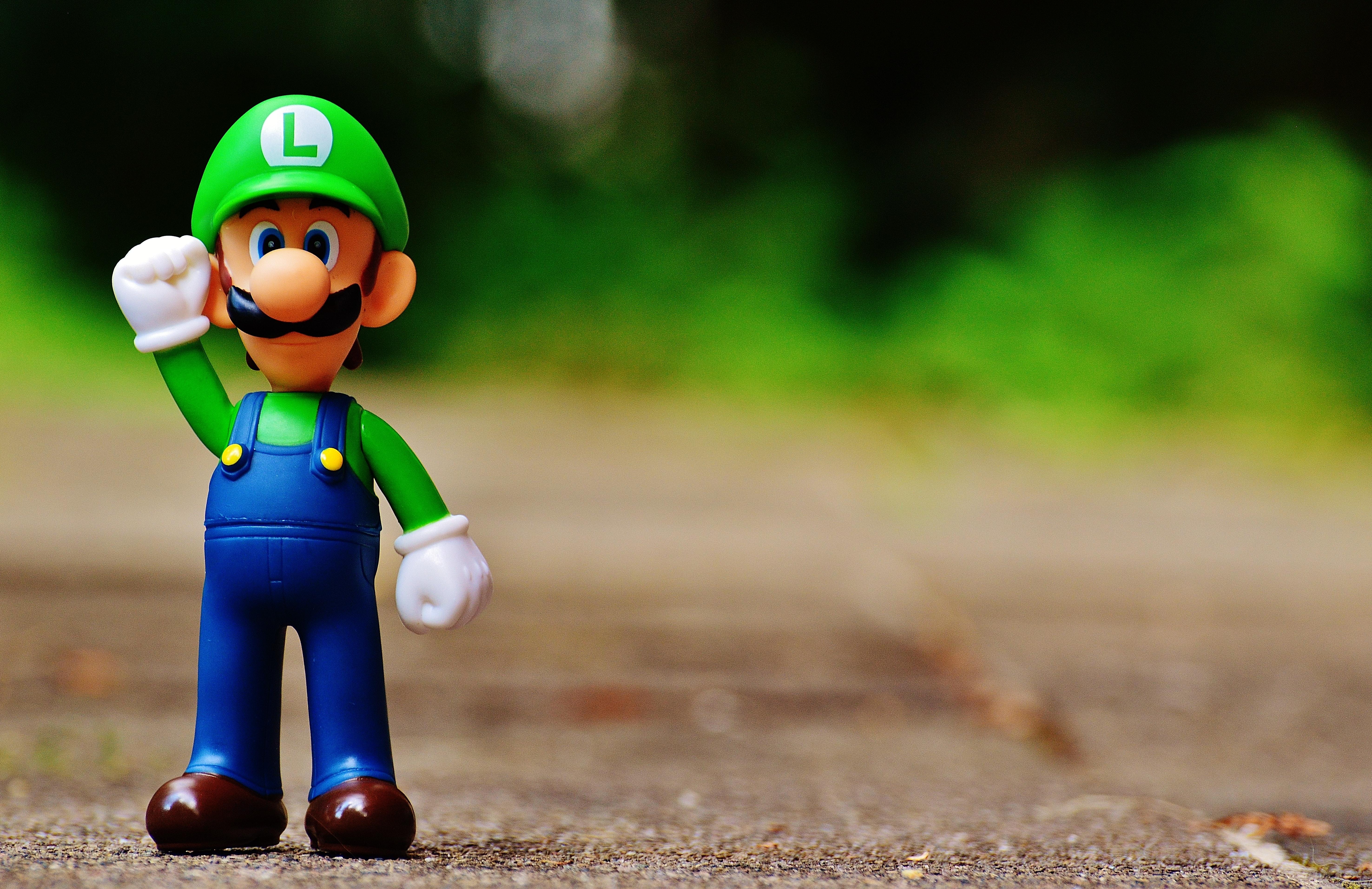 Shallow Focus Photography of Luigi Plastic Figure, Blur, Kid, Toy, Super Mario, HQ Photo