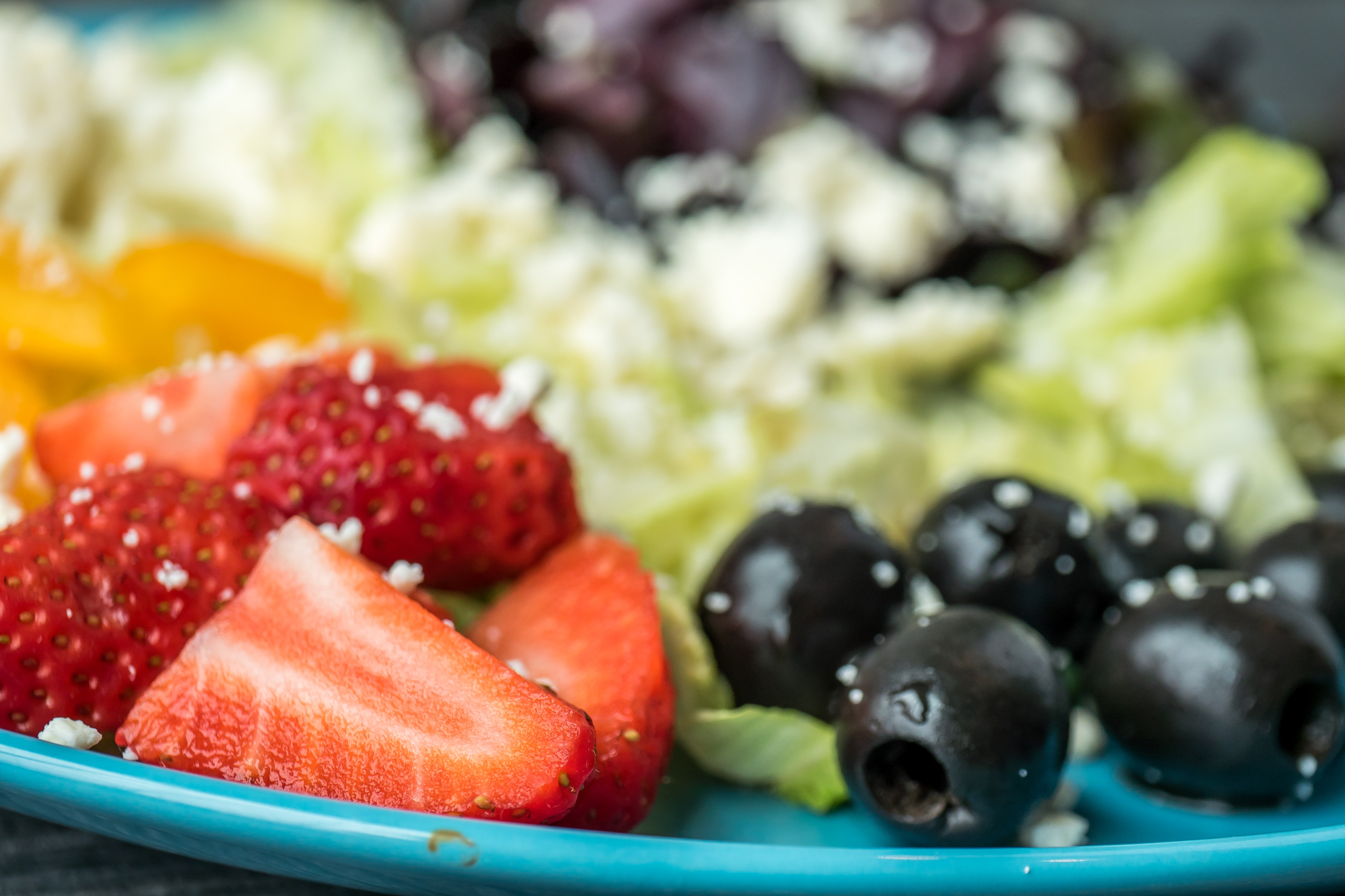Shallow Focus Photography of Sliced Strawberries and Black Olives, Appetizer, Healthy lifestyle, Tasty, Sweet, HQ Photo