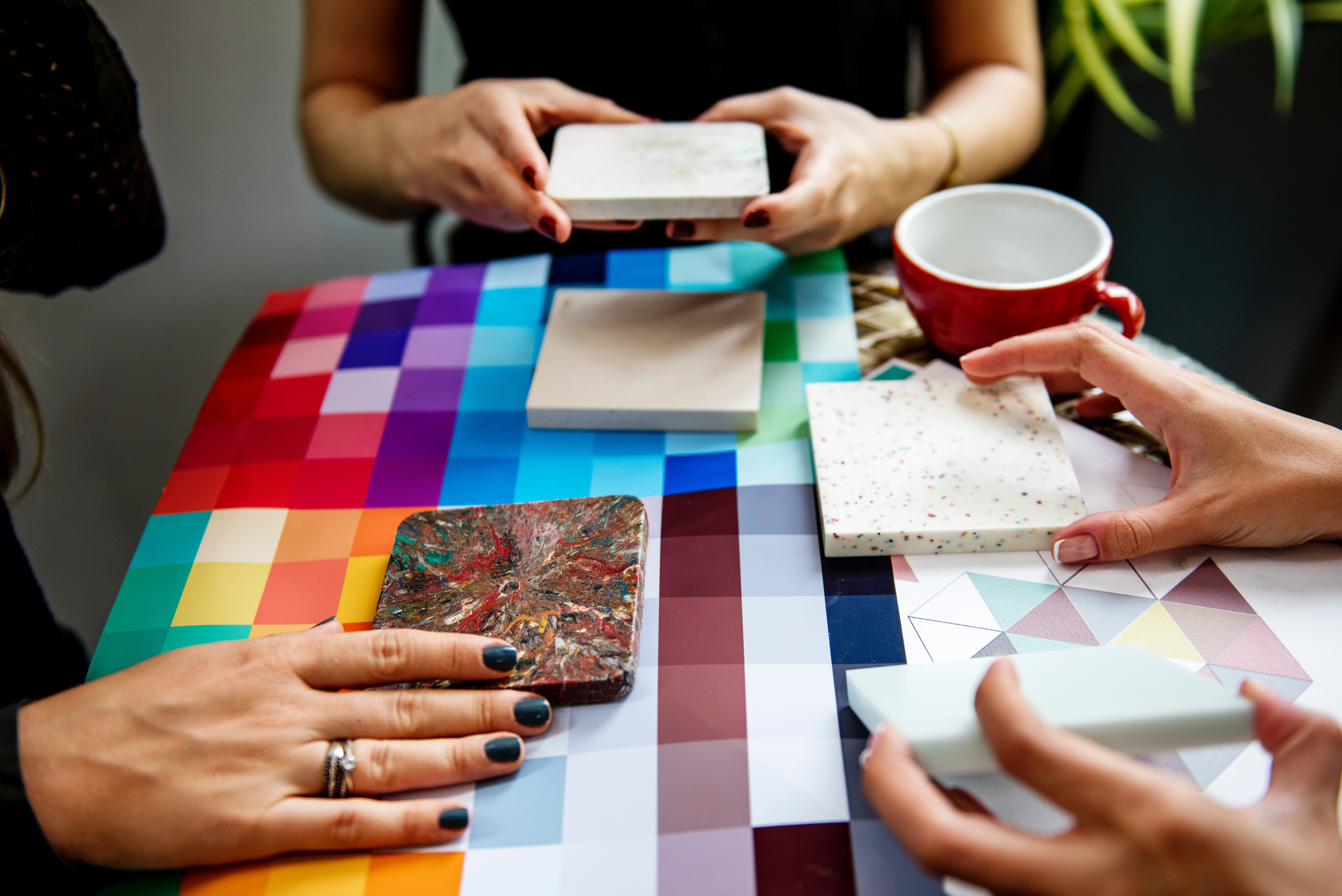 Shallow Focus Photography of Three People Holding Square Panels, Coffee cup, Interior, Working, Women, HQ Photo