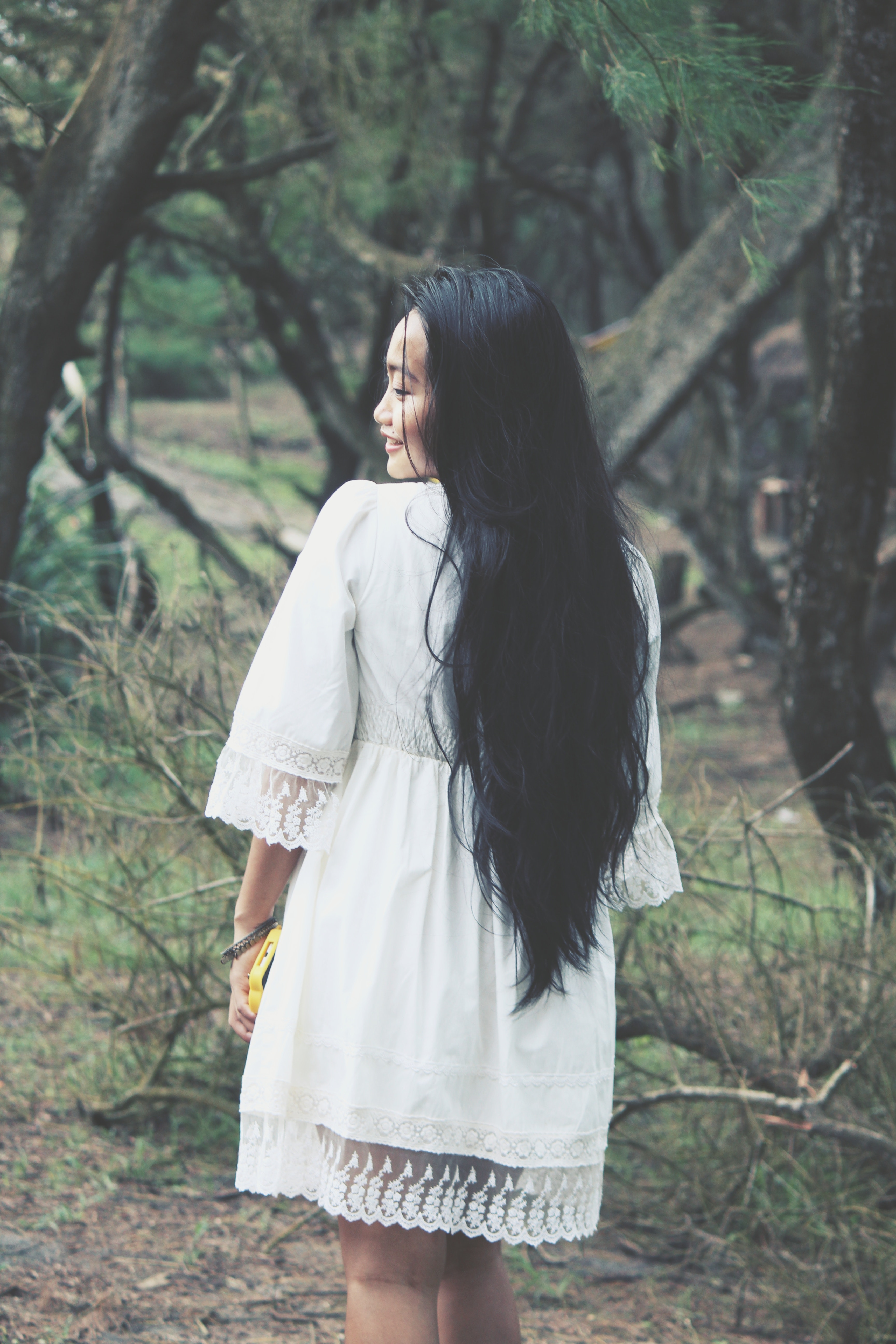 Shallow Focus Photography of Woman in White Mini Dress Near Tress, Asian, Outdoors, Woods, Wood, HQ Photo