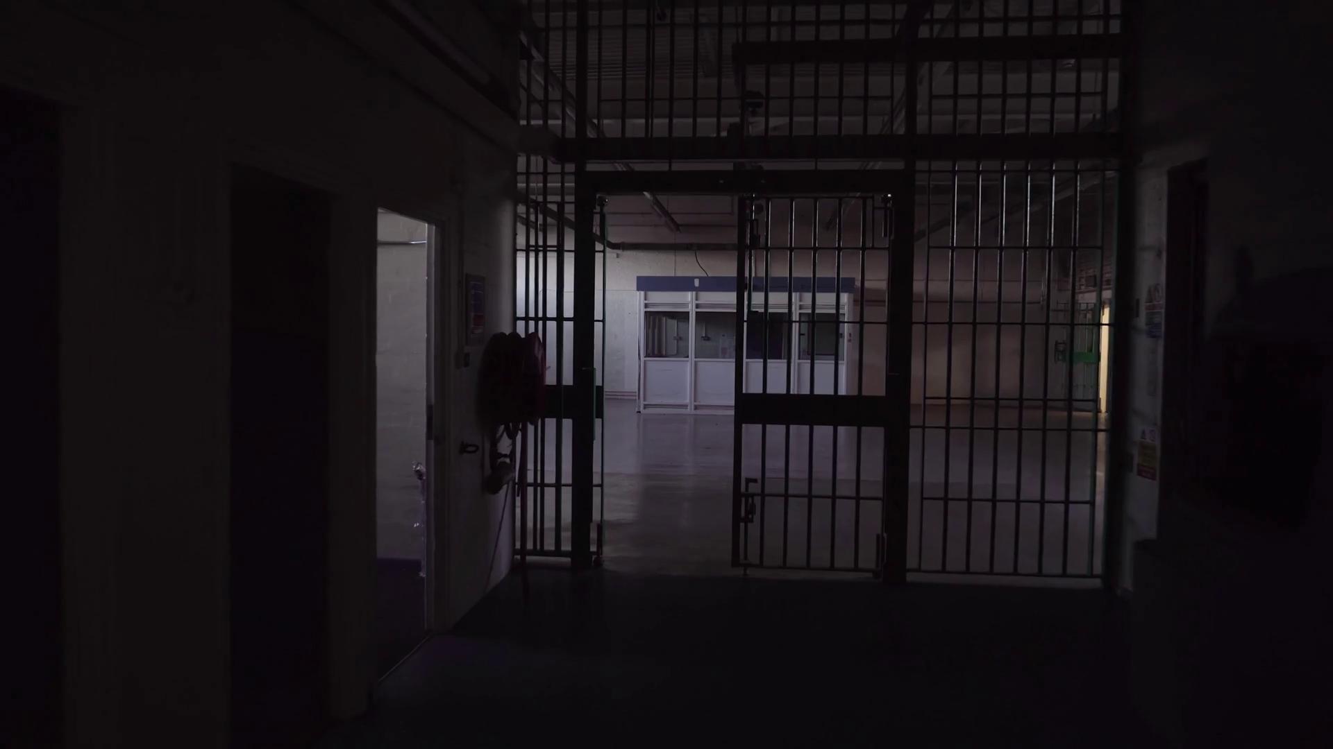 Cinematic Glidecam Inside Prison Corridor, POV Of Prisoner Walking ...