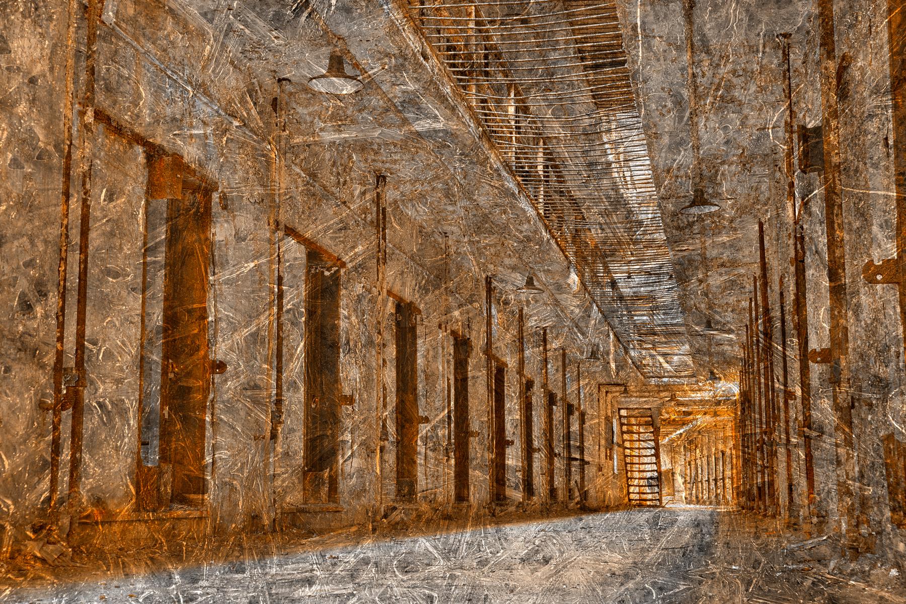 Shattered Prison Corridor, Abandoned, Peeling, Rough, Retro, HQ Photo