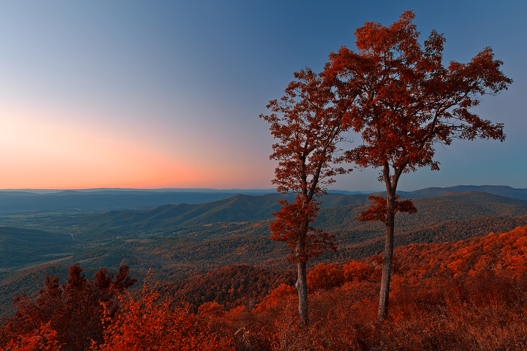 Shenandoah twilight overlook - ruby autumn hdr photo