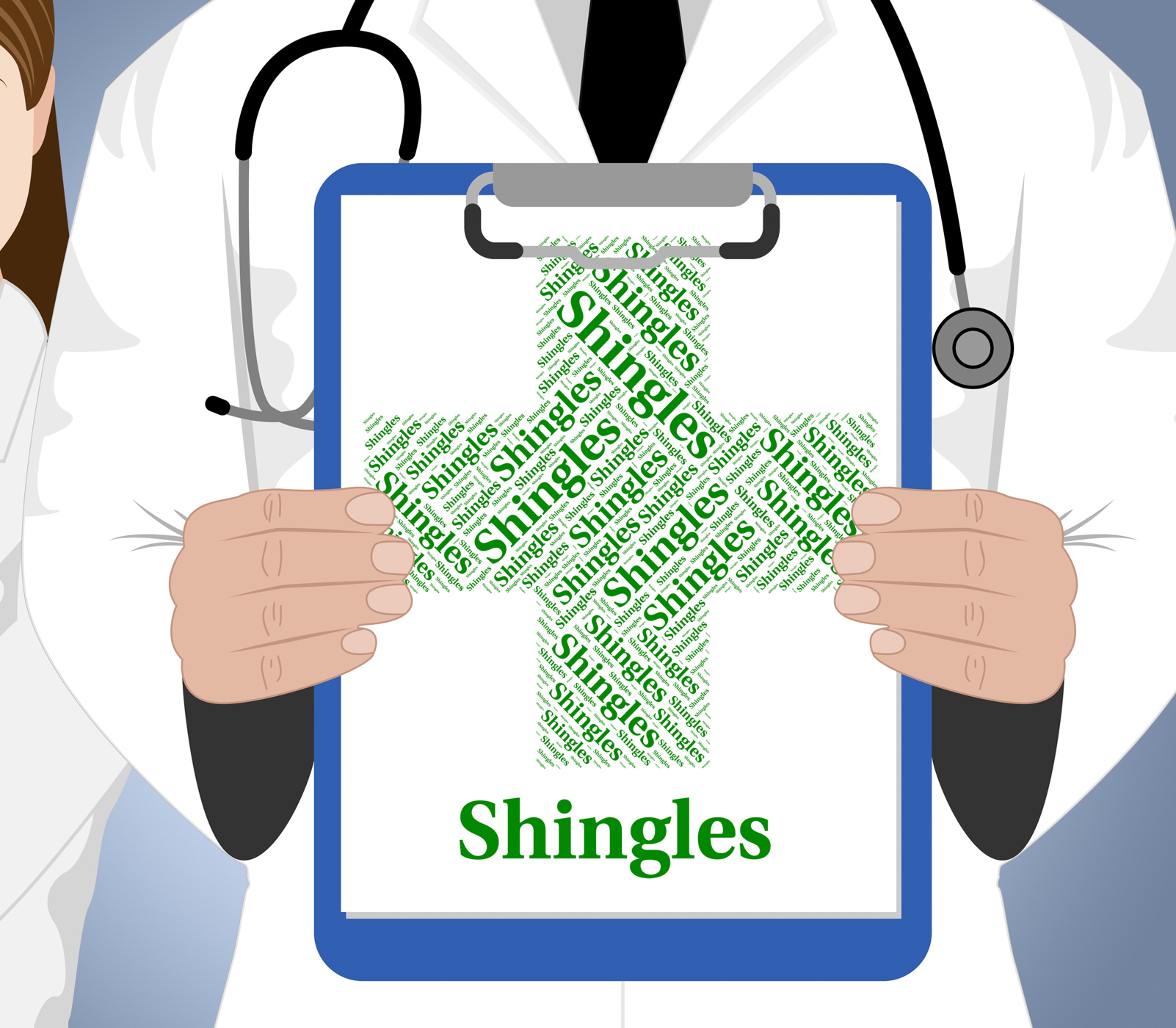 Shingles word shows viral disease and afflictions photo