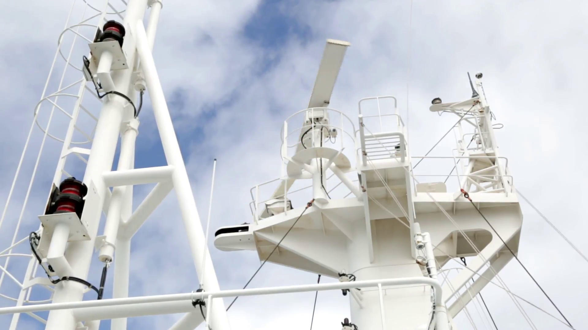 Radar mast of the ship with rotating antenna. Stock Video Footage ...