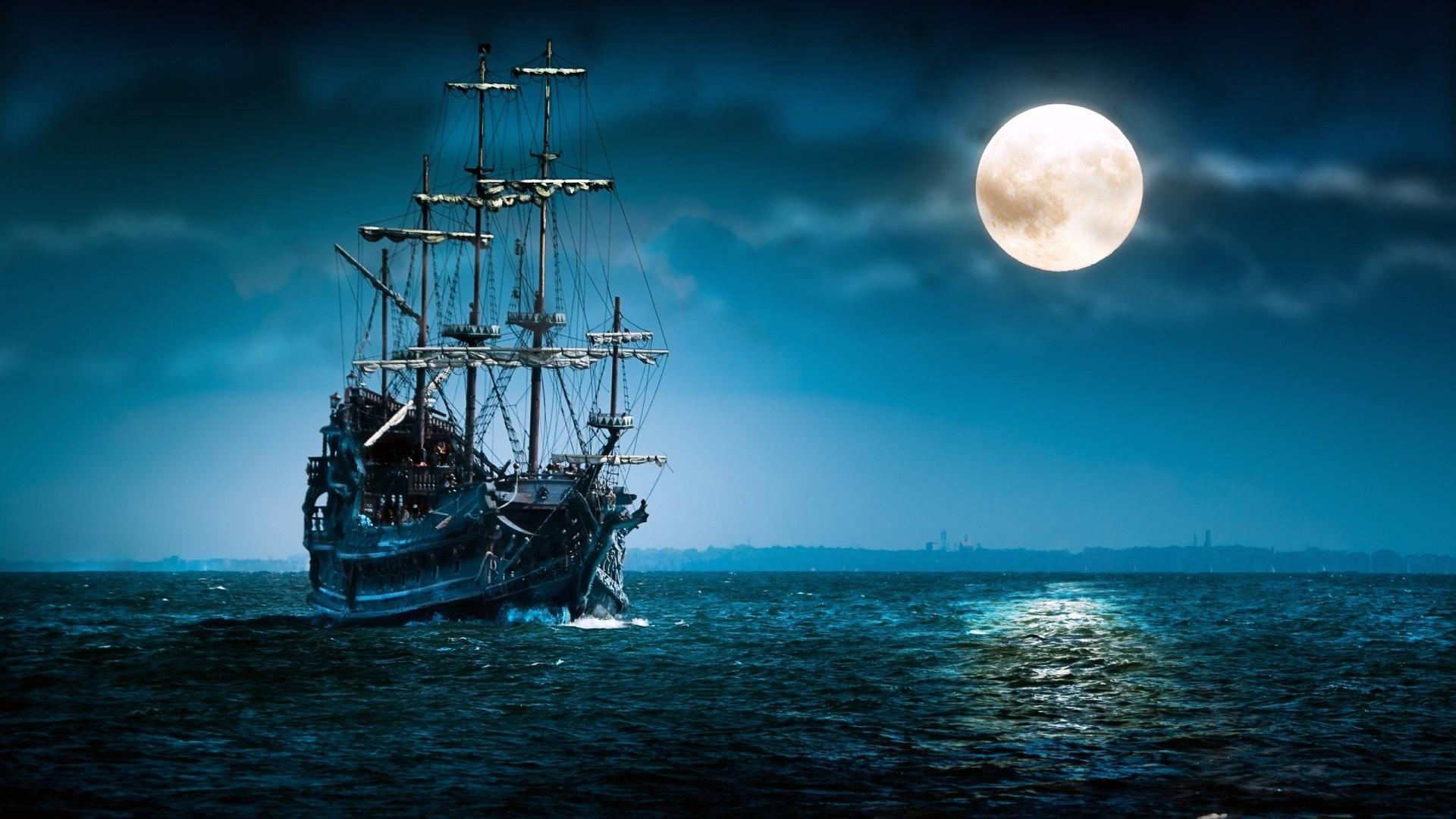 Ship at night photo