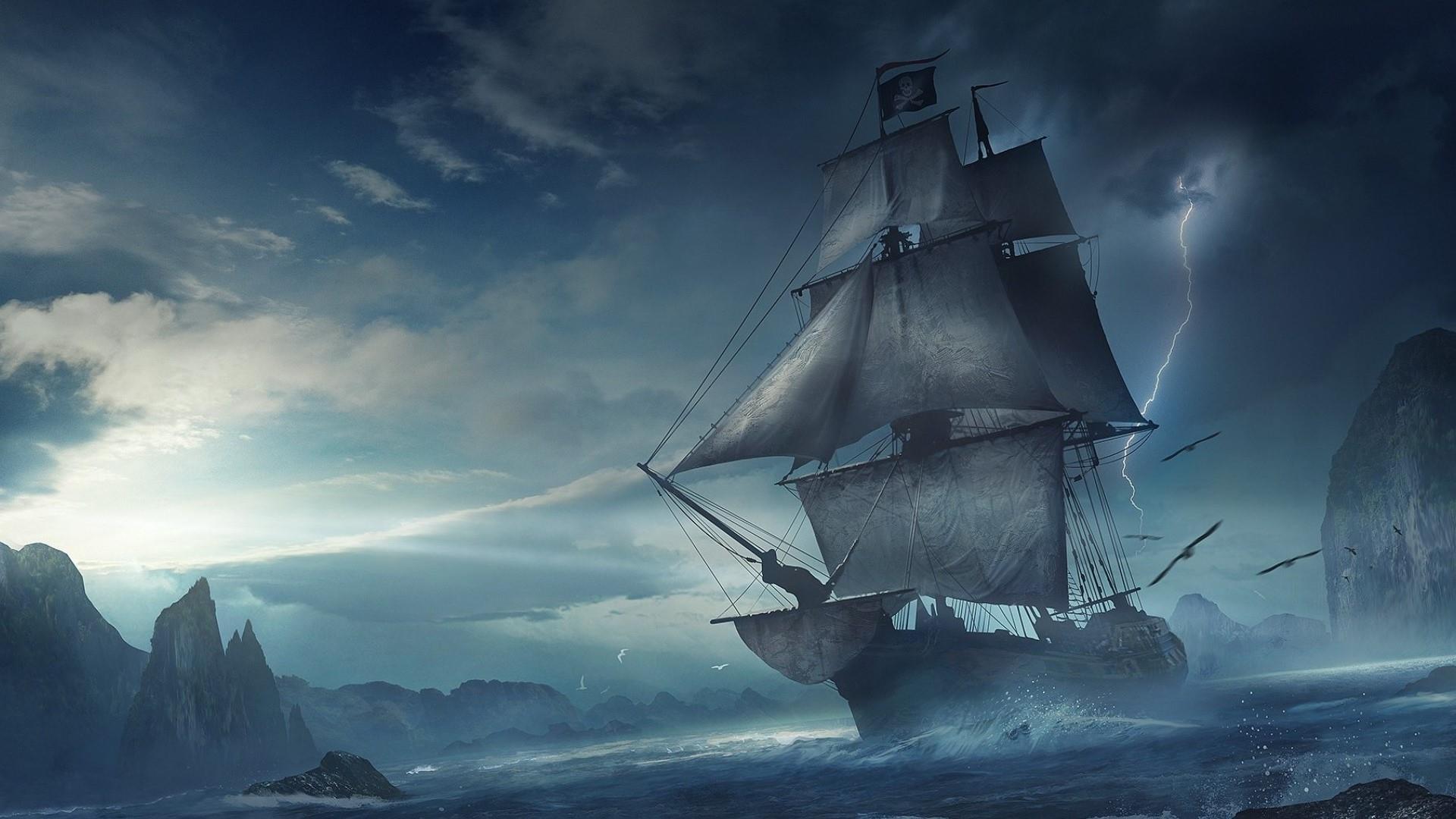 ☠ Pirate Ship At Sea - Fantasy Art Wallpaper | Wallpaper Studio ...