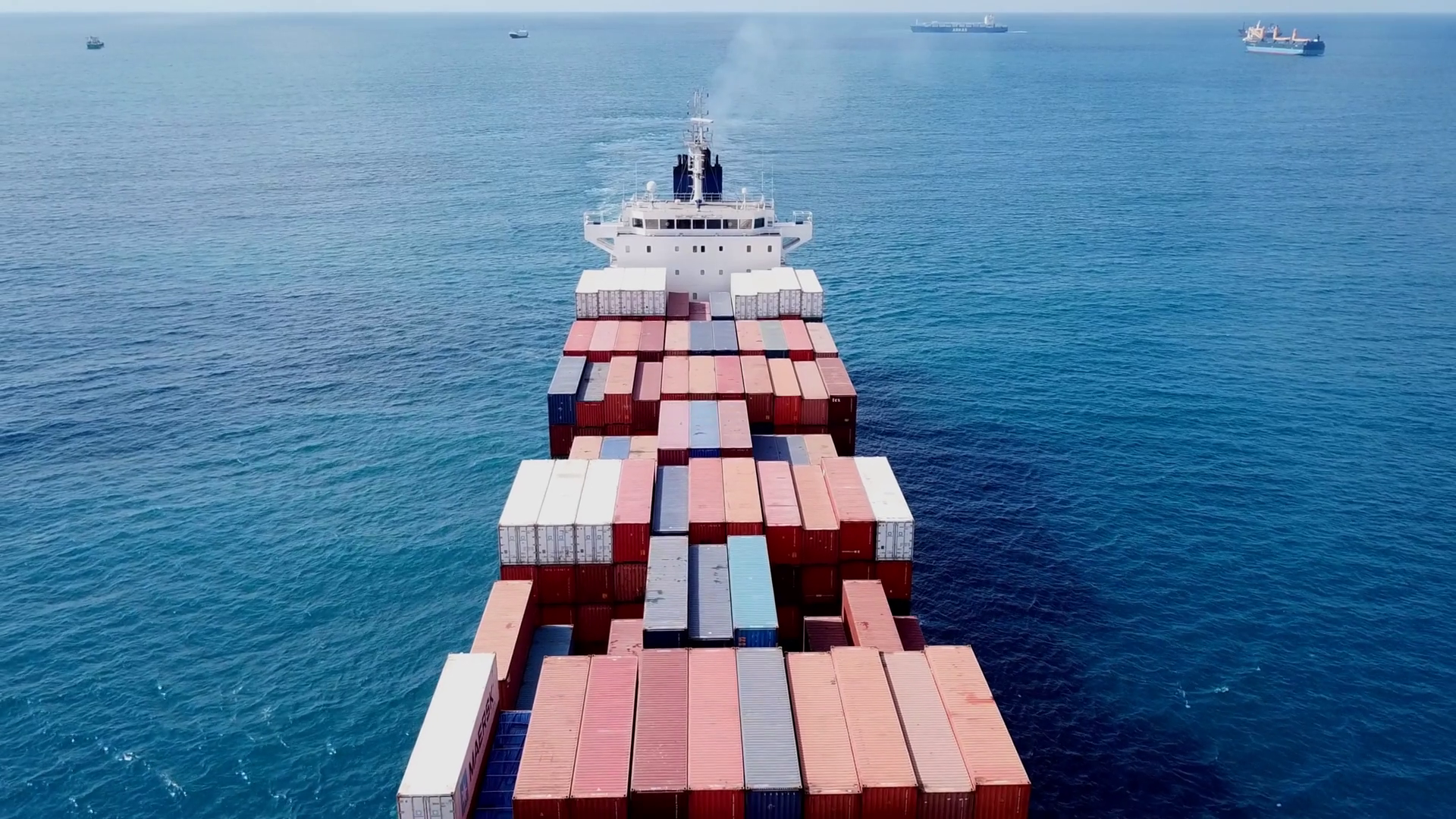 Large container ship at sea - Aerial footage Stock Video Footage ...