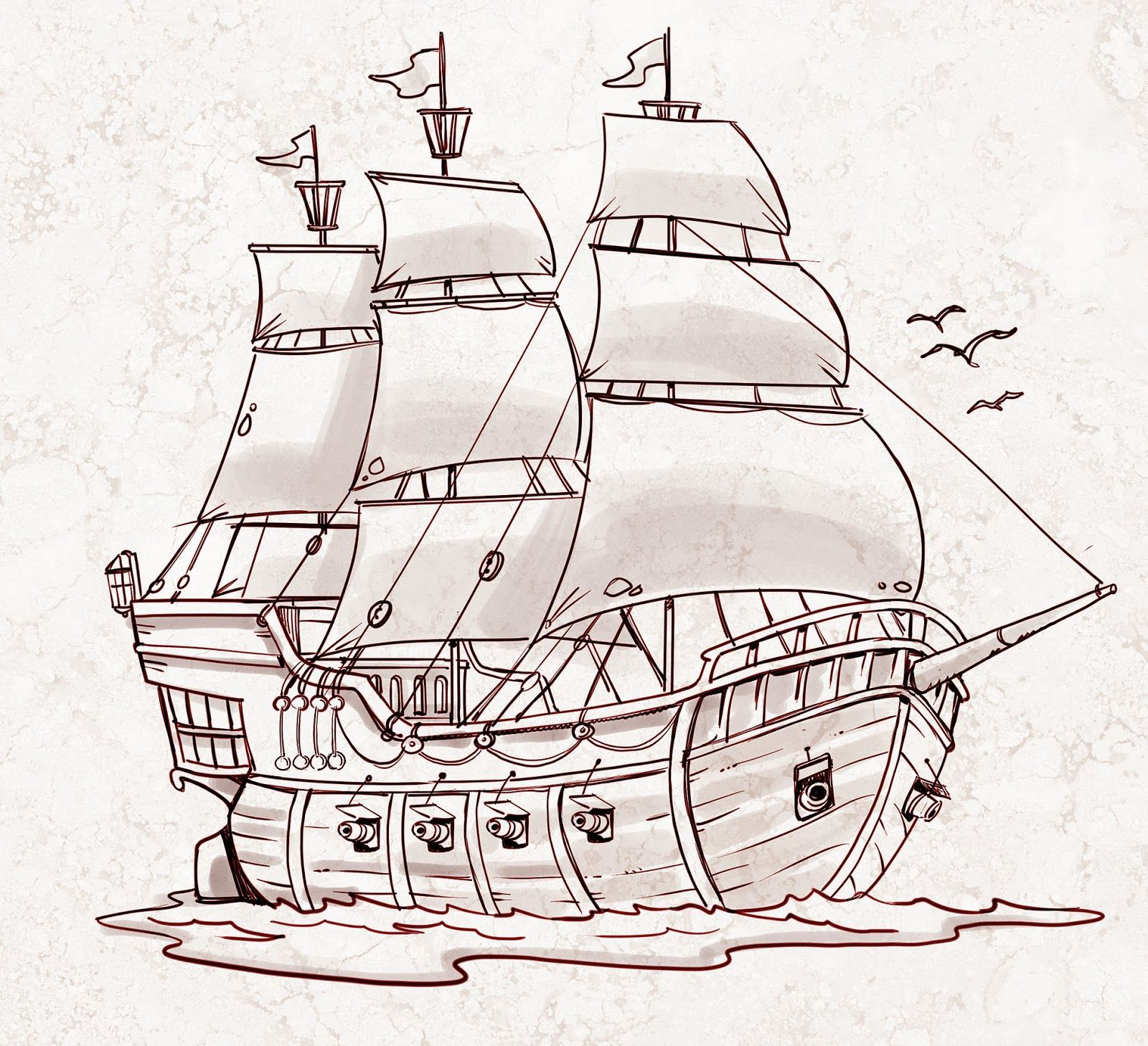 Pirate Ship - a sketch for a How to Draw book. | Tutorial and ...