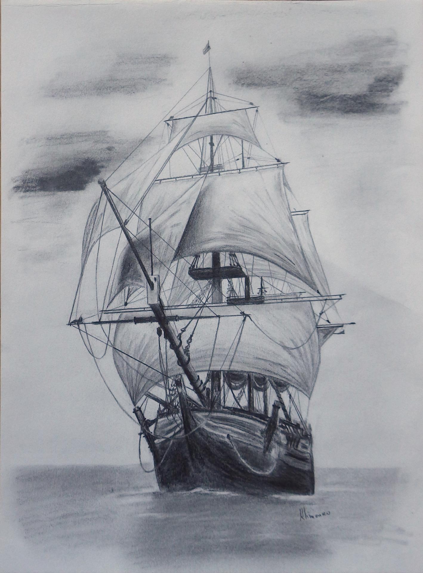 Old tall ship, sail ship sketch. Original art, graphite pencil ...