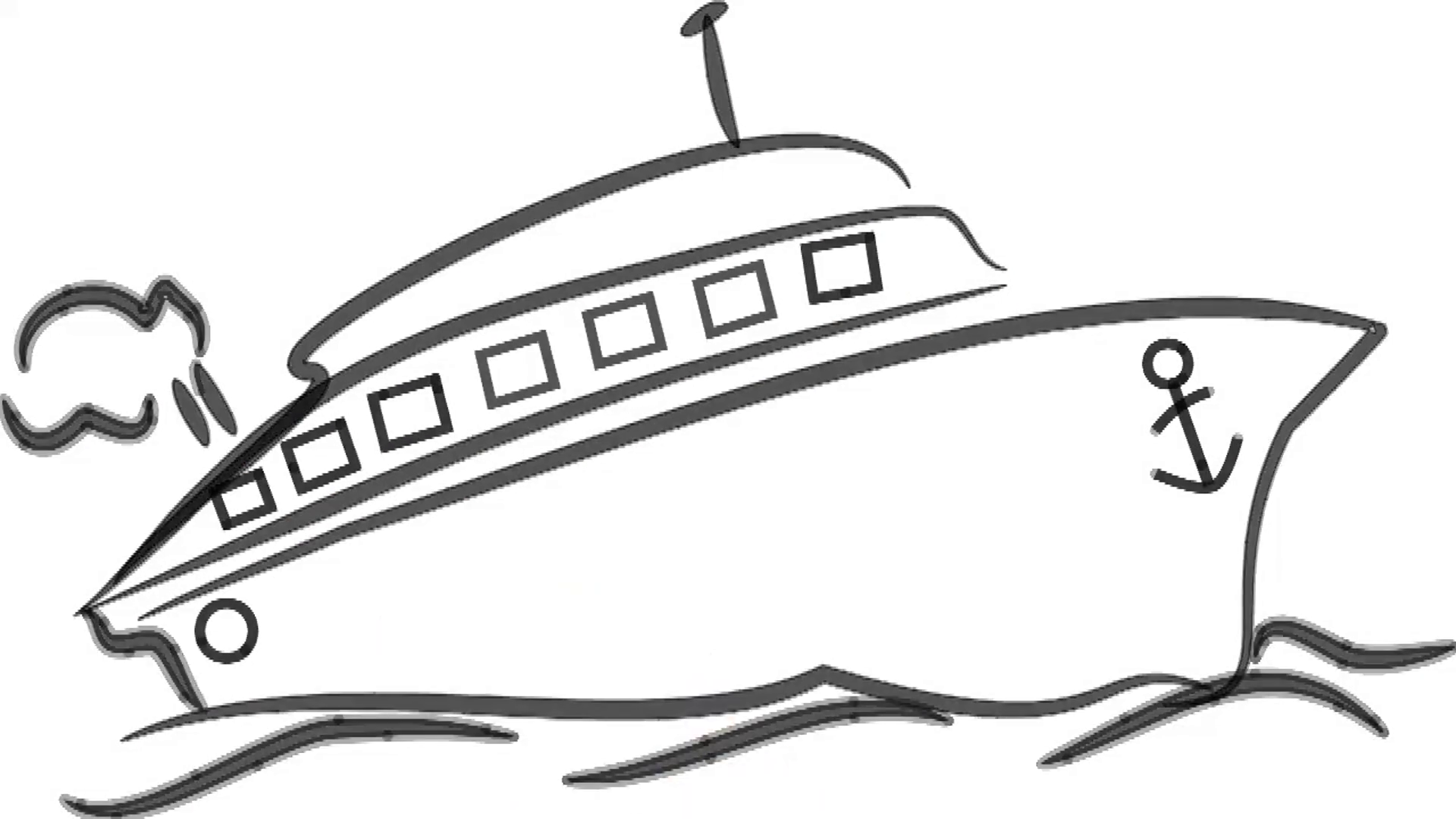 Man sketching ship / speed boat on whiteboard background. Animated ...