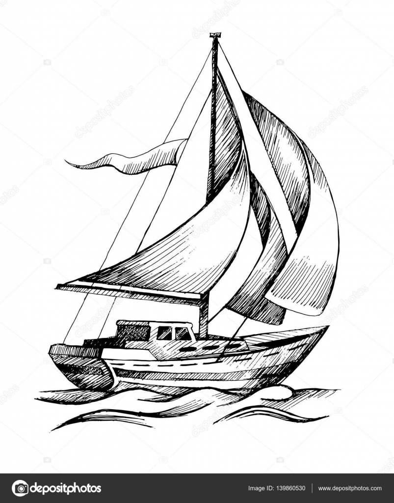 Sailing ship vector sketch isolated with waves. — Stock Vector ...