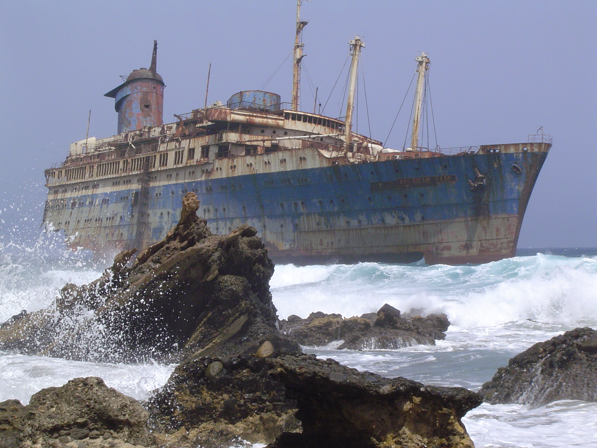 File:Shipwreck of the SS American Star on the shore of Fuerteventura ...