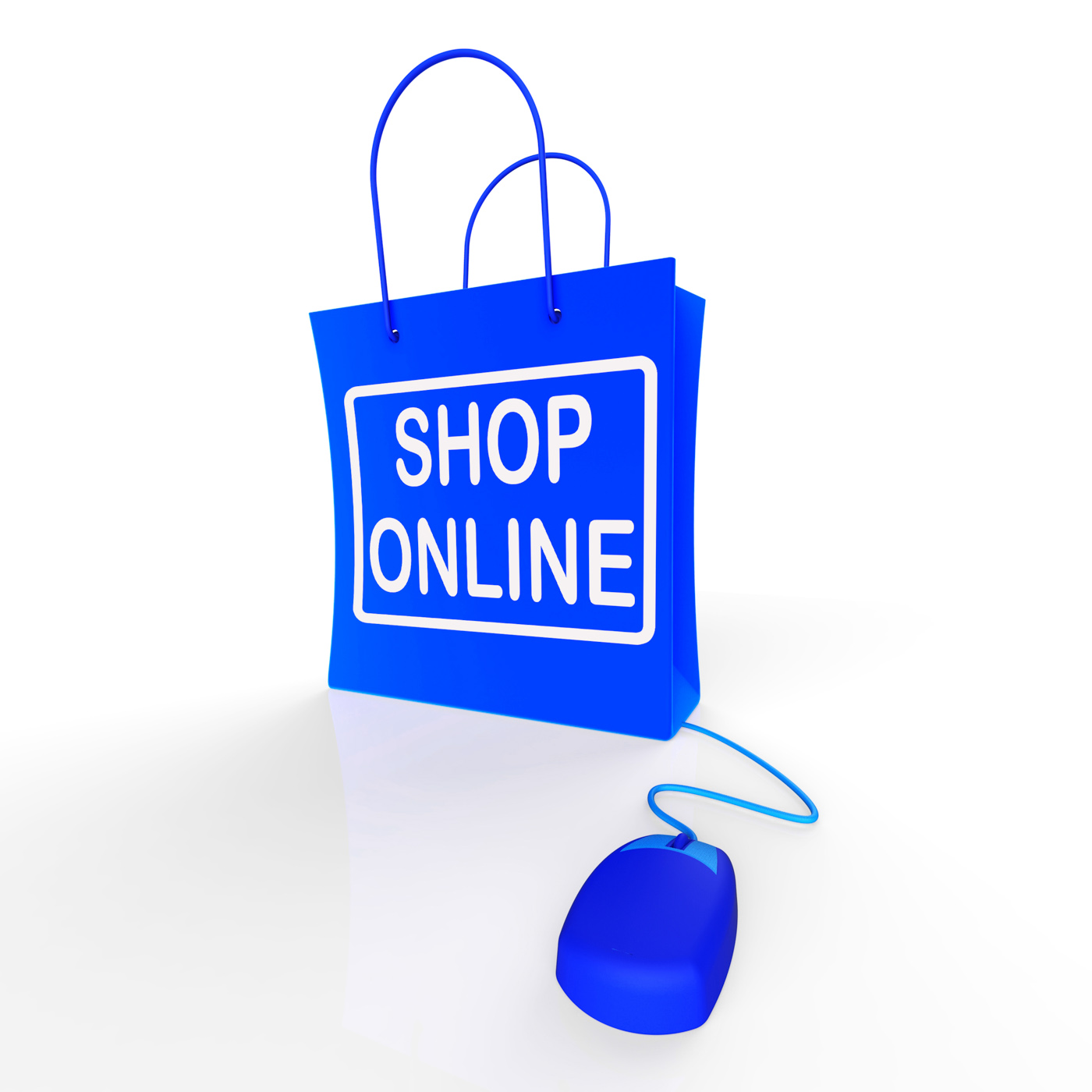 Shop online bag represents internet shopping and buying photo