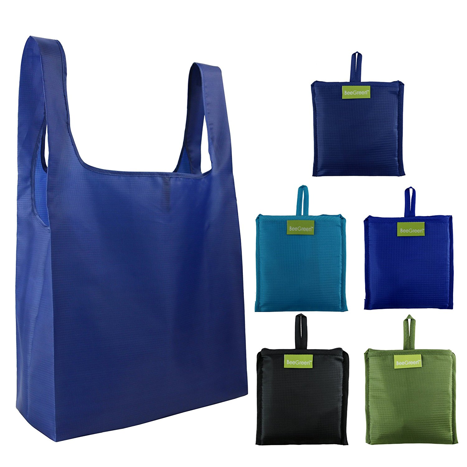 Amazon.com: Reusable Grocery Bags 5 Pack, Grocery Tote Folded into ...