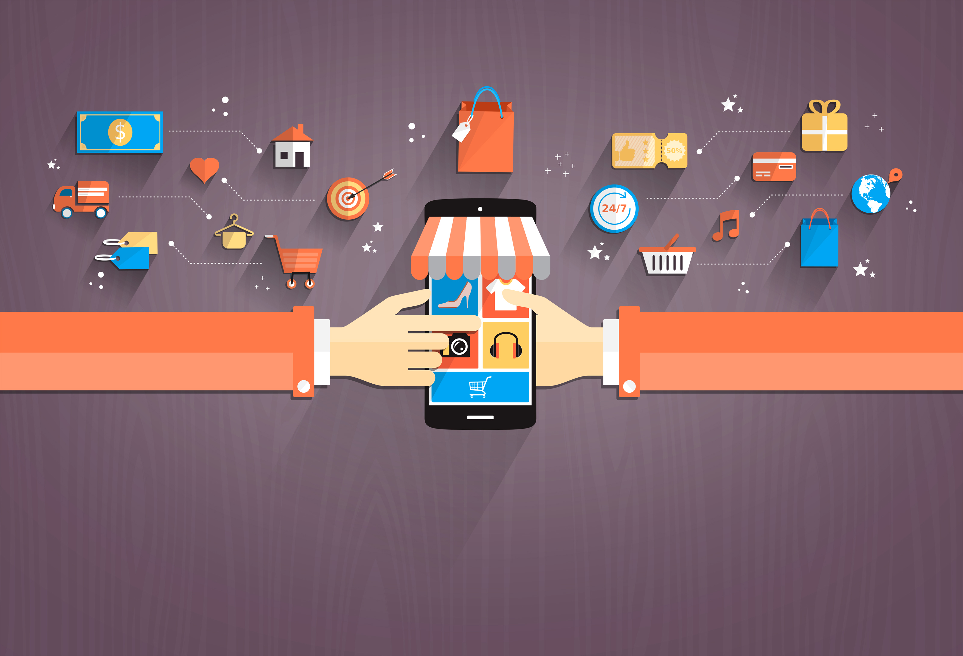 Shopping with smartphone flat design photo