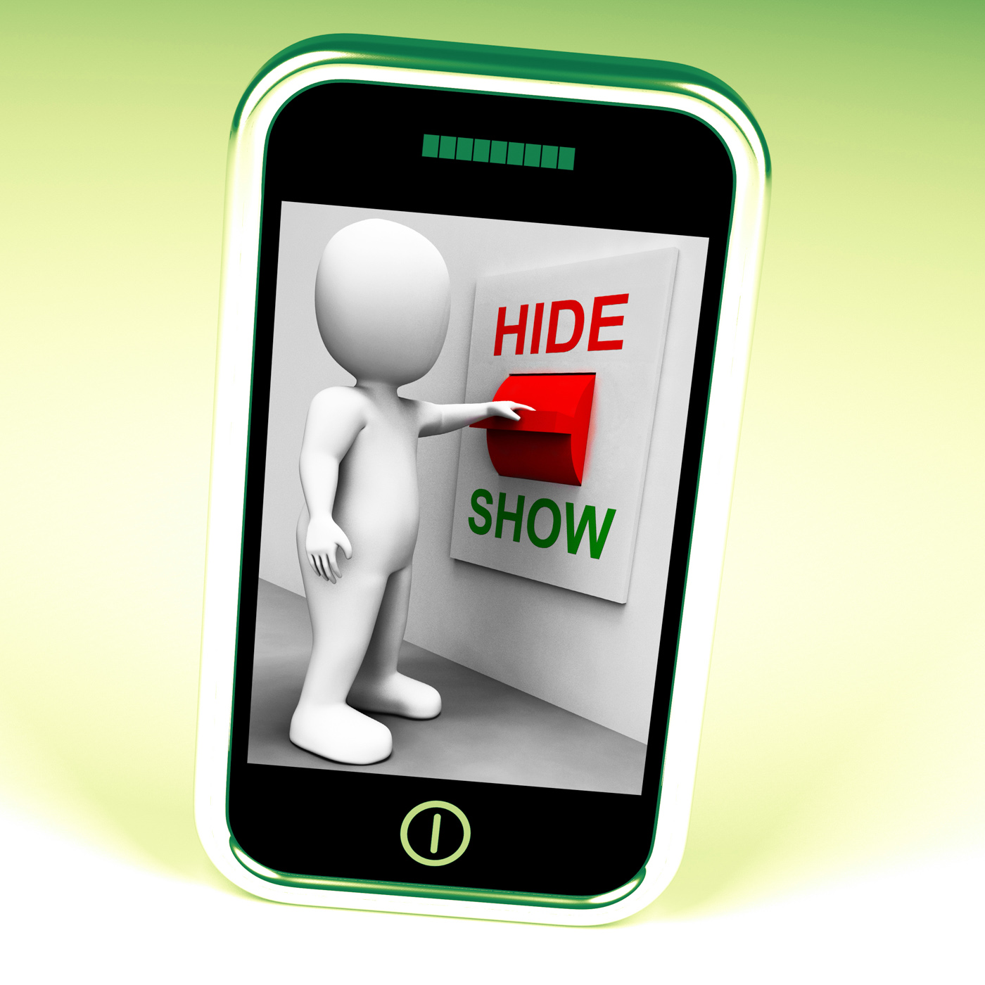 Show hide switch means conceal or reveal photo