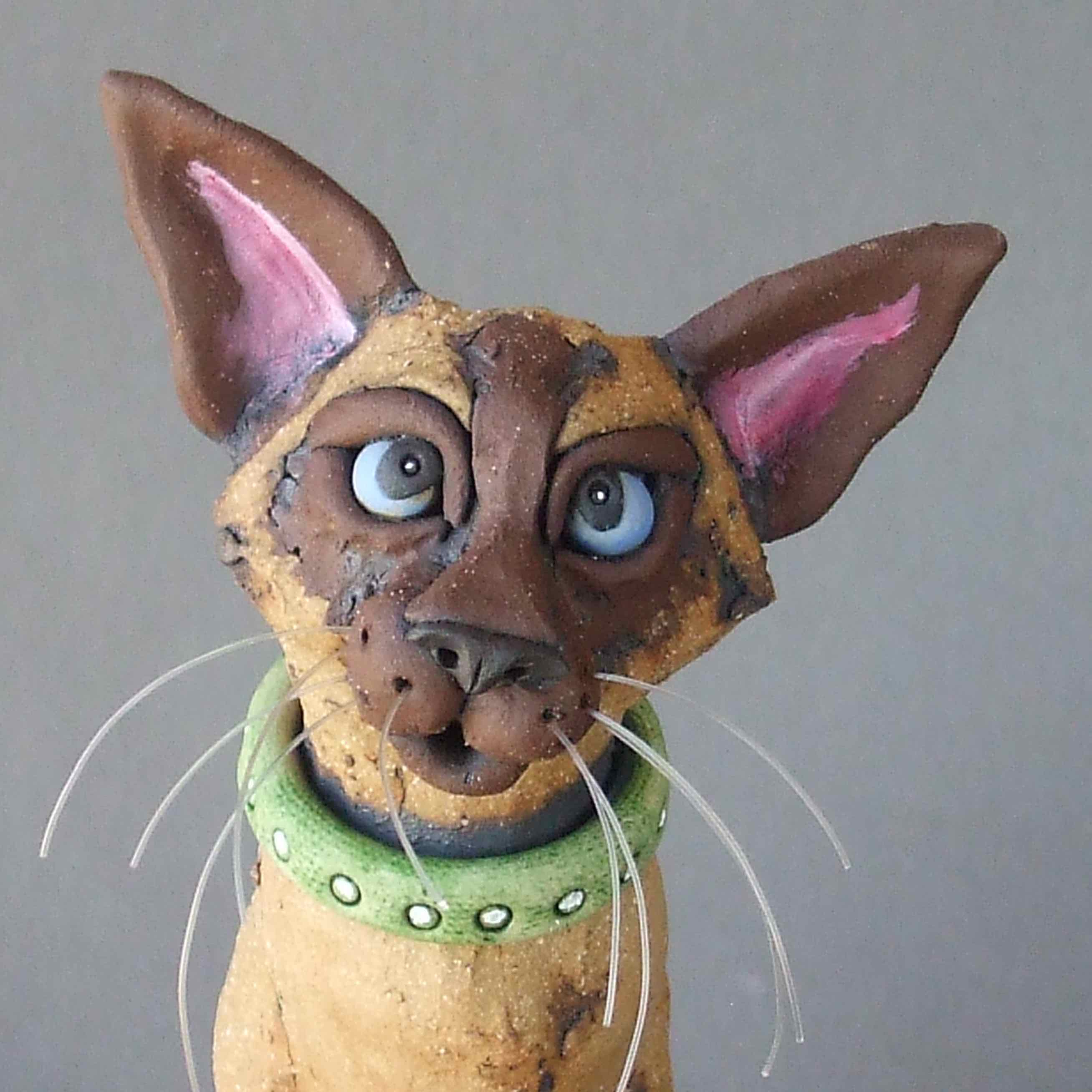 Siamese Cat Mouser Ceramic Sculpture -