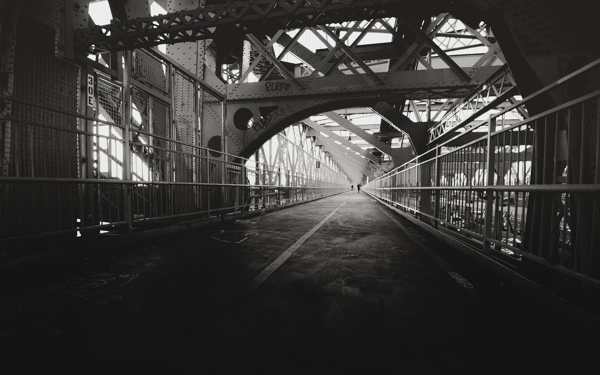 Bridge Bw Beams Metal Path Trail Black White Sidewalk Architecture ...