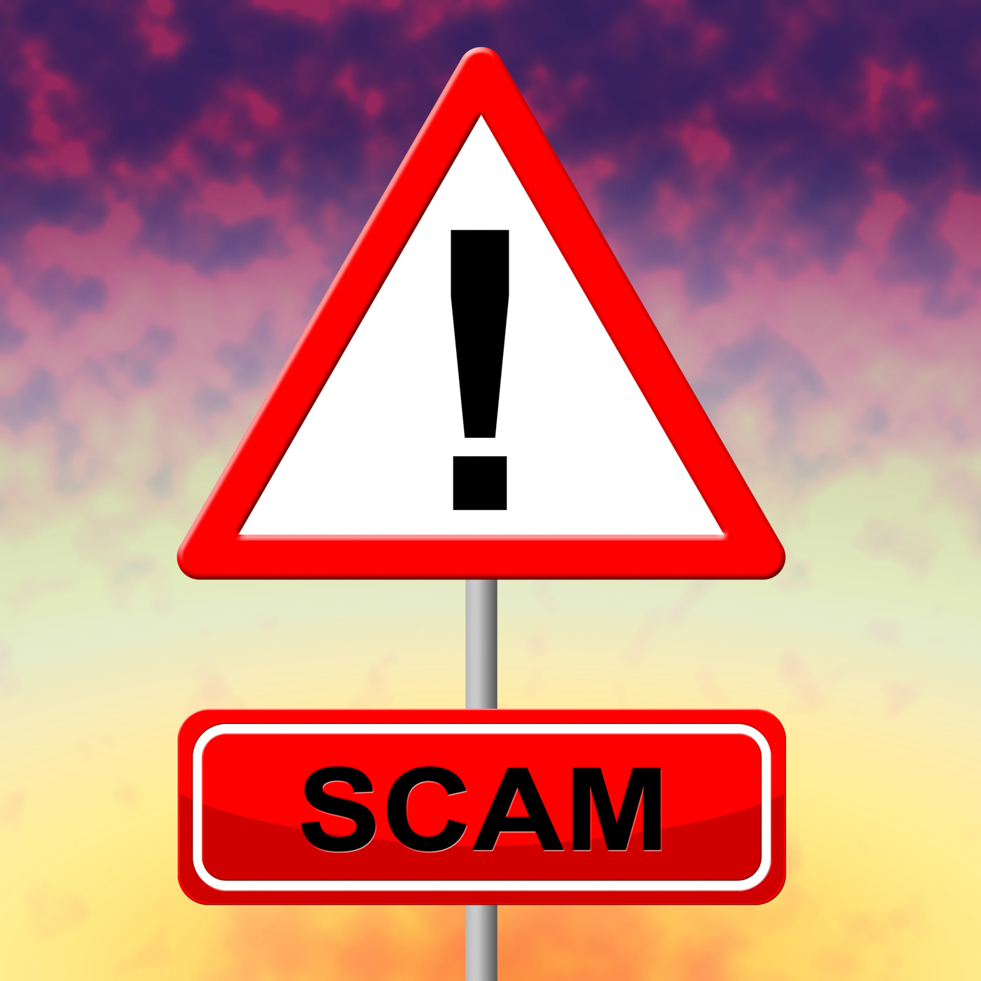 Sign scam represents rip off and scams photo