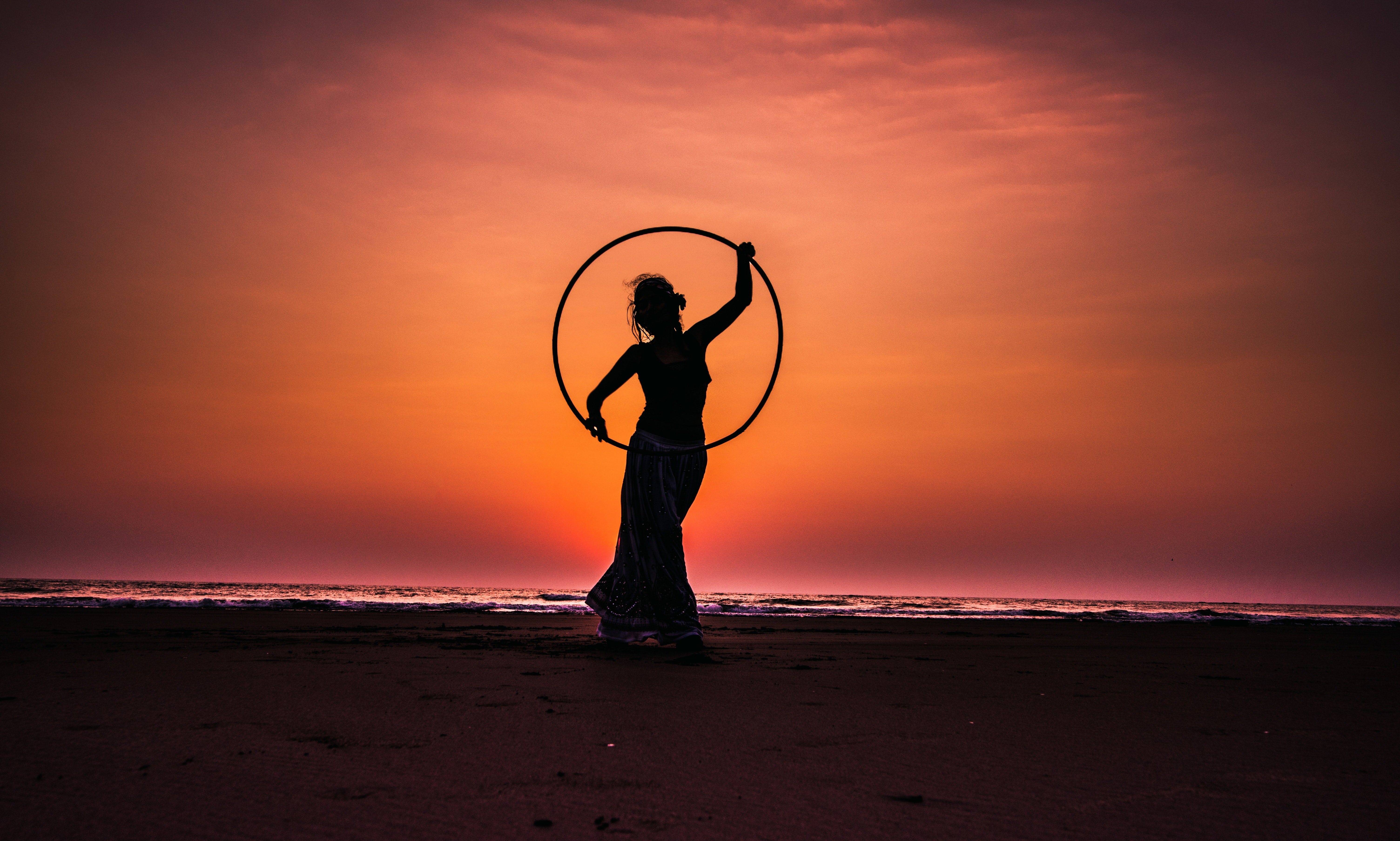 Silhouette Boy on Beach Against Sky during Sunset, Backlit, Sea, Water, Sunset, HQ Photo