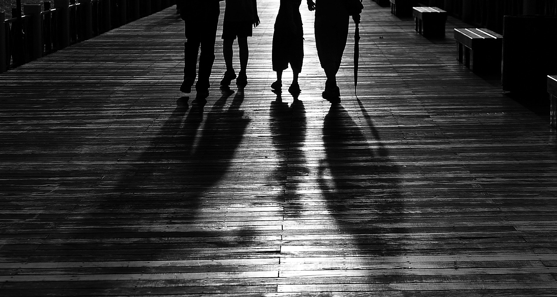 Silhouette of 4 Person Walking, Black-and-white, Friends, Group, Light, HQ Photo