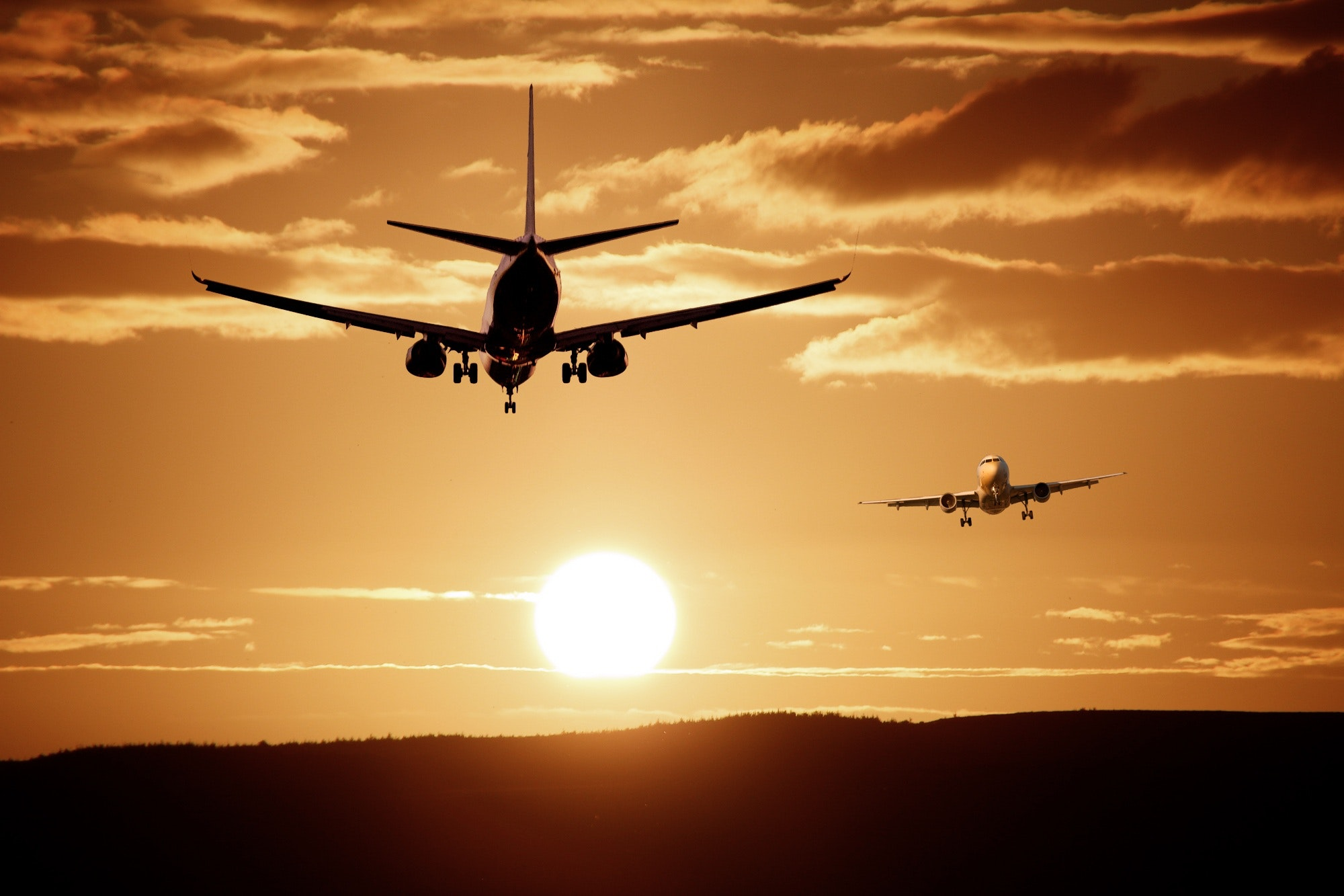 Silhouette of airplanes photo