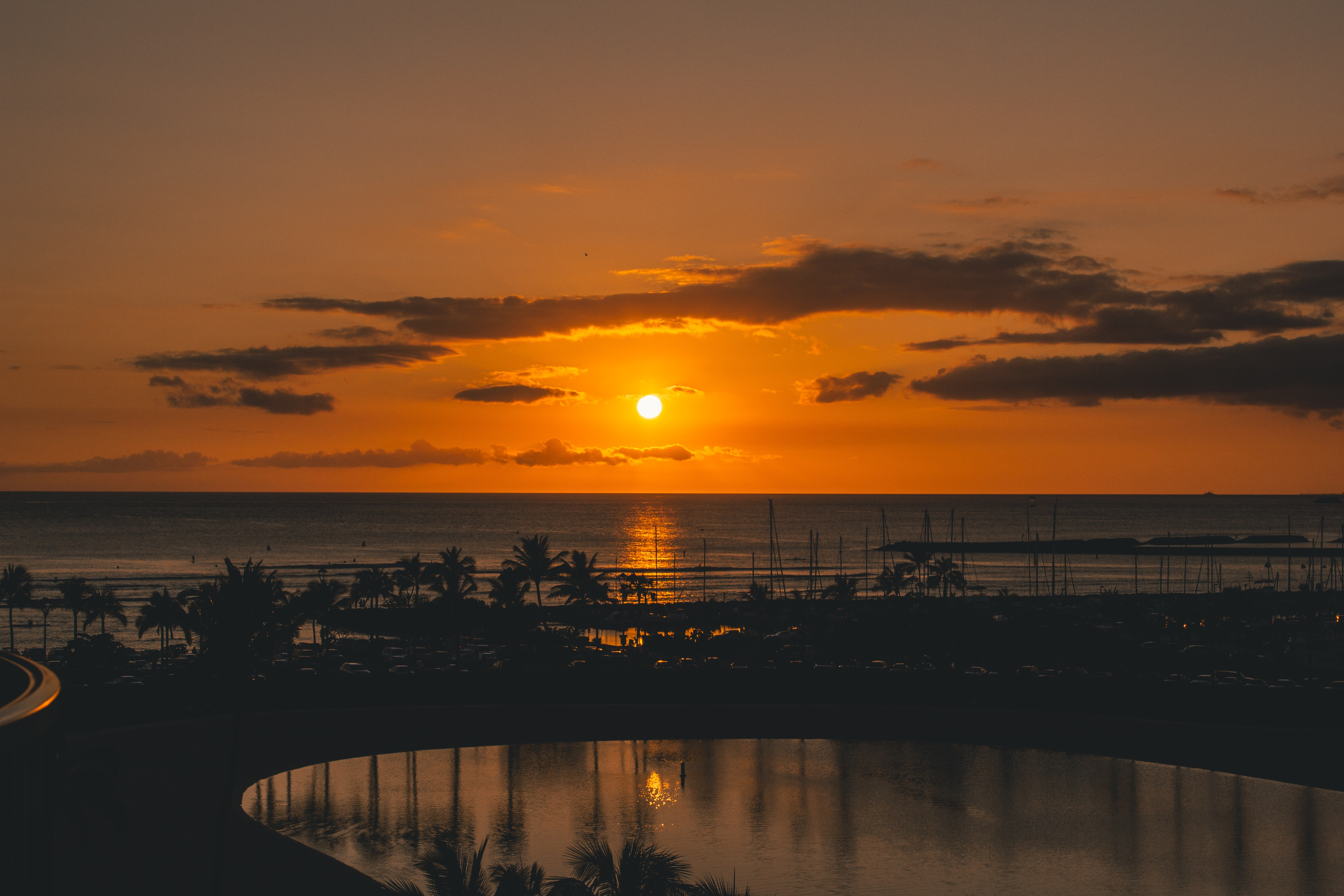 Silhouette of Beach With Background of Sunset, Architecture, Reflection, Waikiki, Vehicle, HQ Photo
