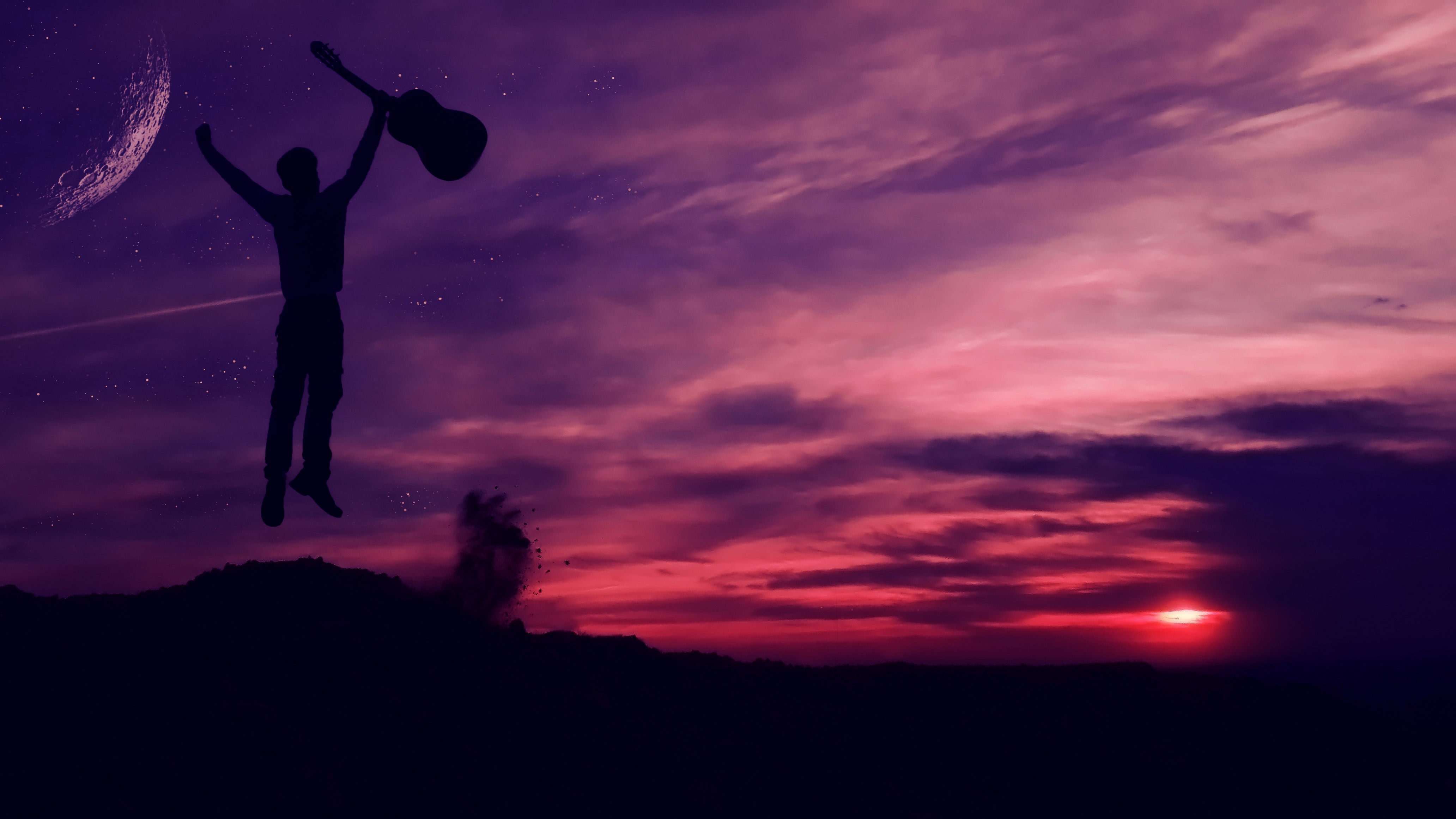Silhouette of Man Holding a Guitar, Abendstimmung, Light, Travel, Sunset, HQ Photo