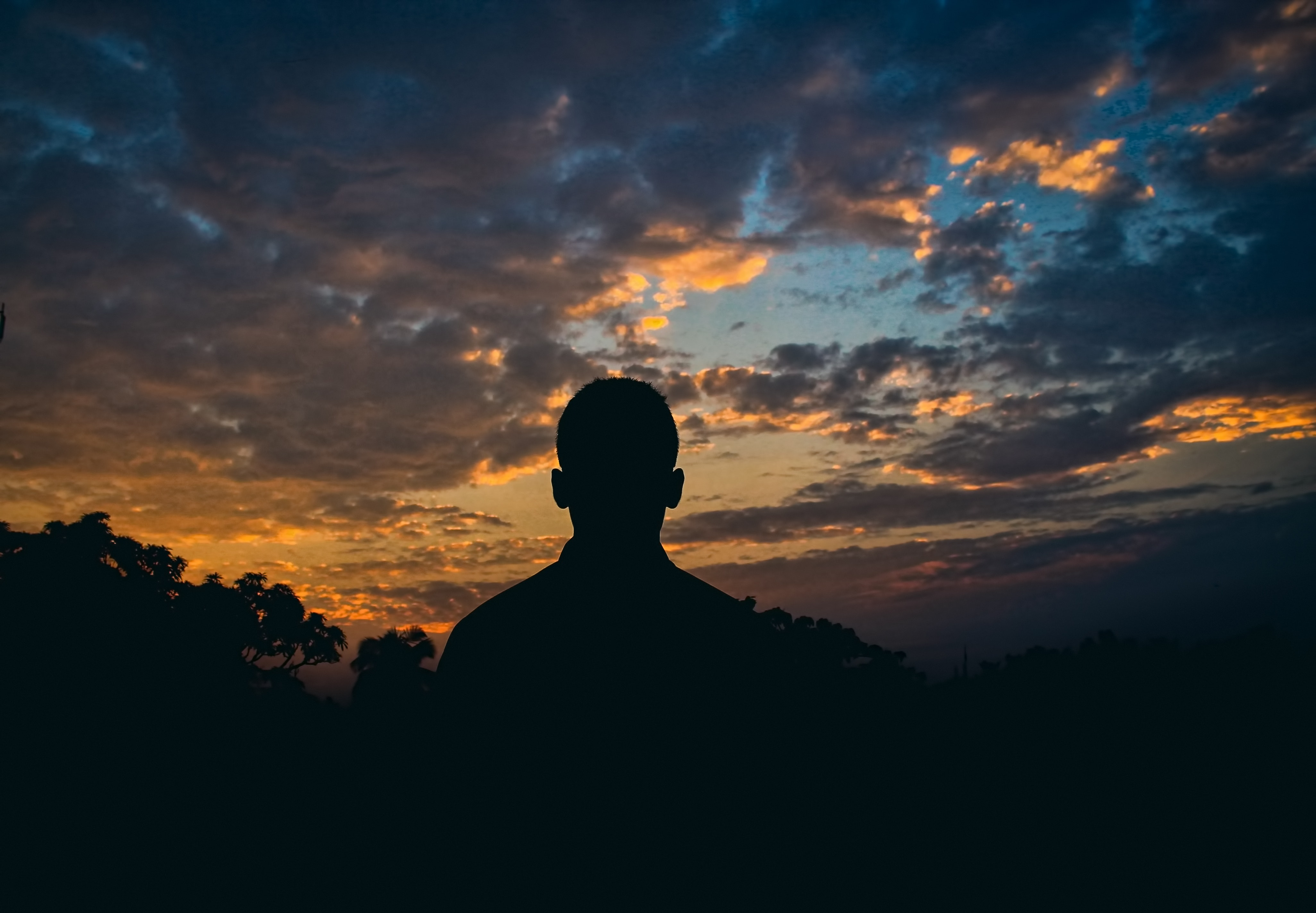 Silhouette Of Man Watching Golden Hour, Person, Silhouette, Sunrise, Sunset, HQ Photo