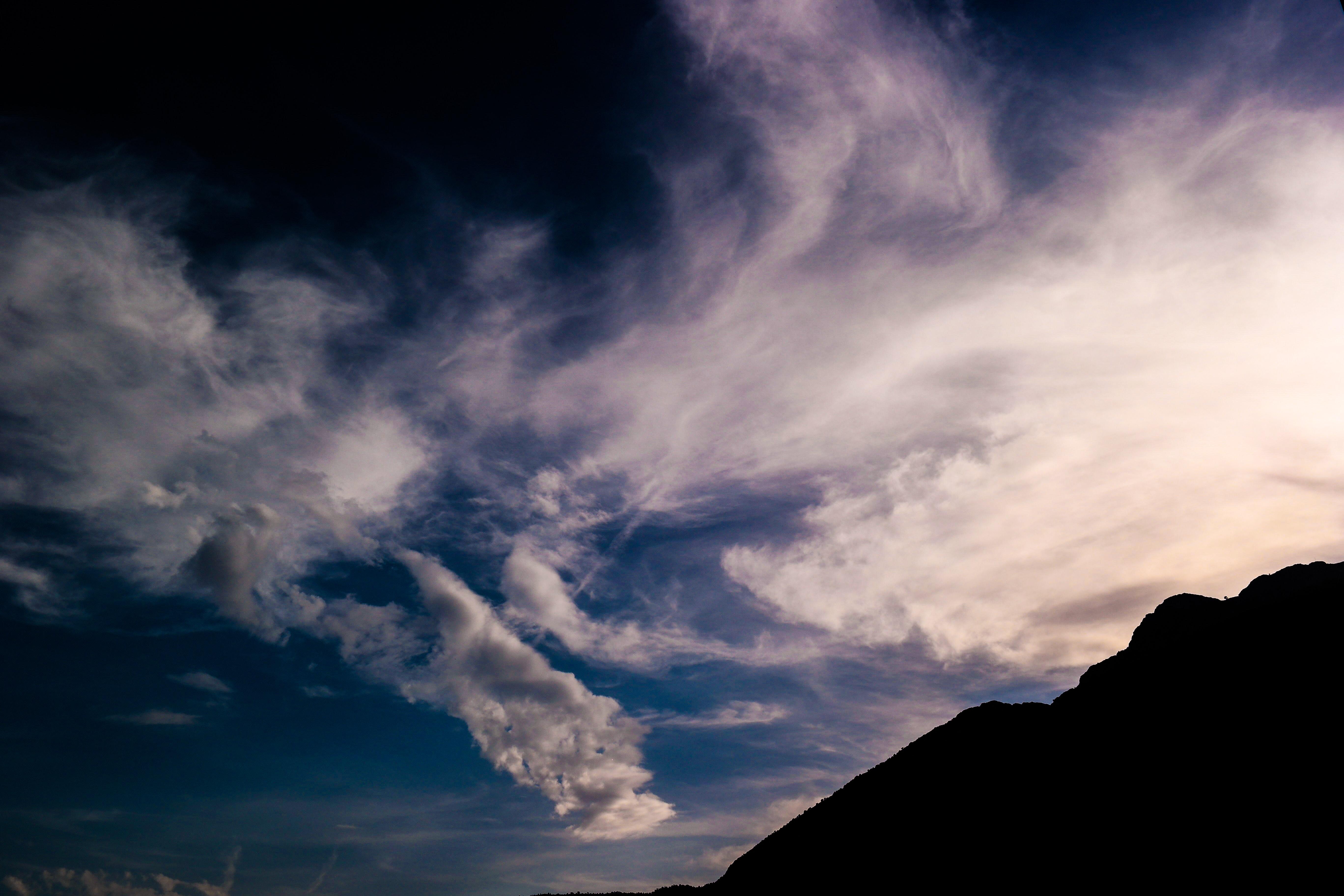 Silhouette of Mountain Under White Clouds, Clouds, Dark, Dawn, Dusk, HQ Photo