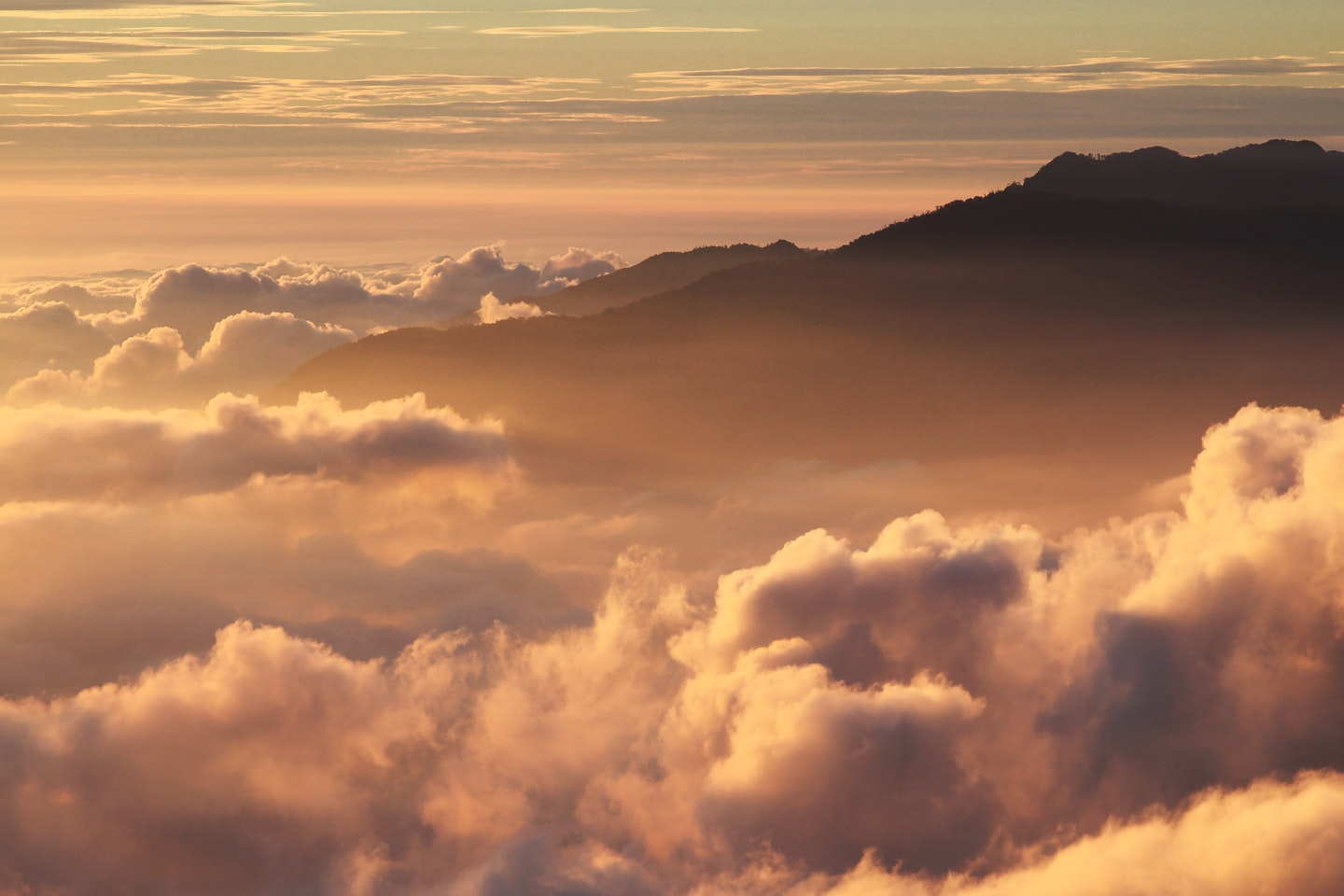 Silhouette of Mountain With Fluffy Clouds during Sunset, Clouds, Dawn, Dusk, Mountain, HQ Photo