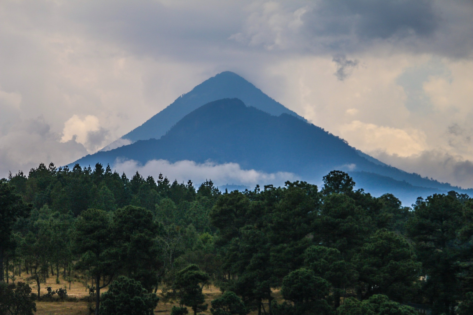 Silhouette of Mountain With Trees Photography, Clouds, Trees, Travel, Sky, HQ Photo