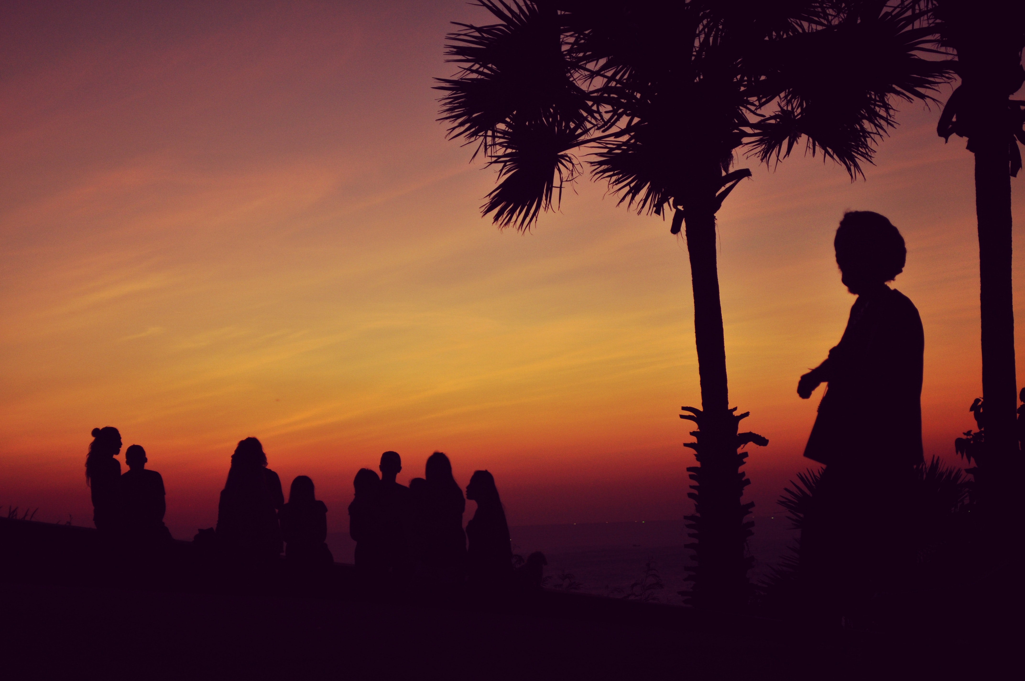 Silhouette of People Standing Under Orange Sky, Sunrise, Sunset, Sky, Silhouette, HQ Photo