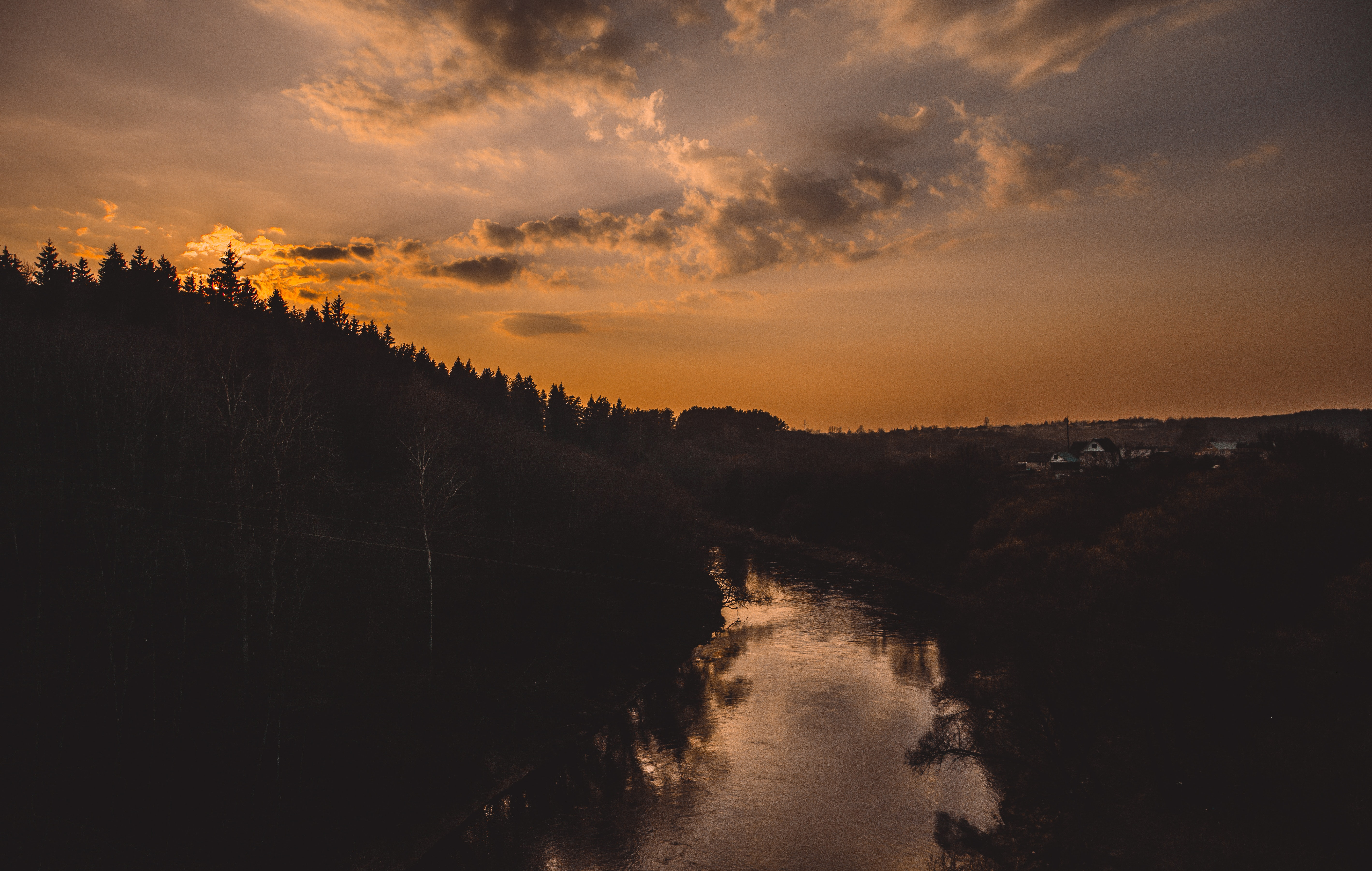 Silhouette of Trees Beside River, Afterglow, Peaceful, Water, Trees, HQ Photo
