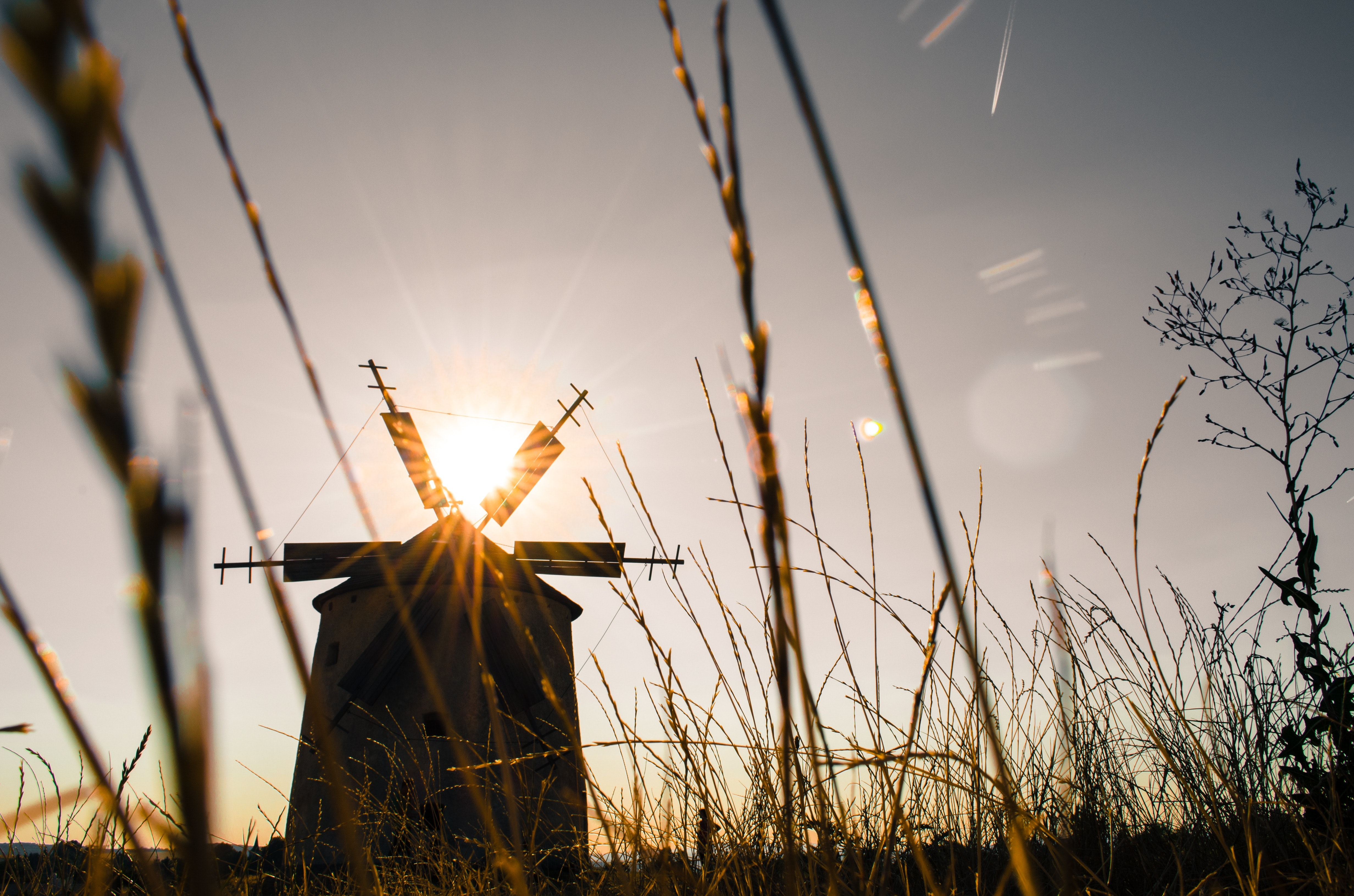 Silhouette of Windmill during Daytime, Countryside, Grass, Low angle shot, Silhouette, HQ Photo