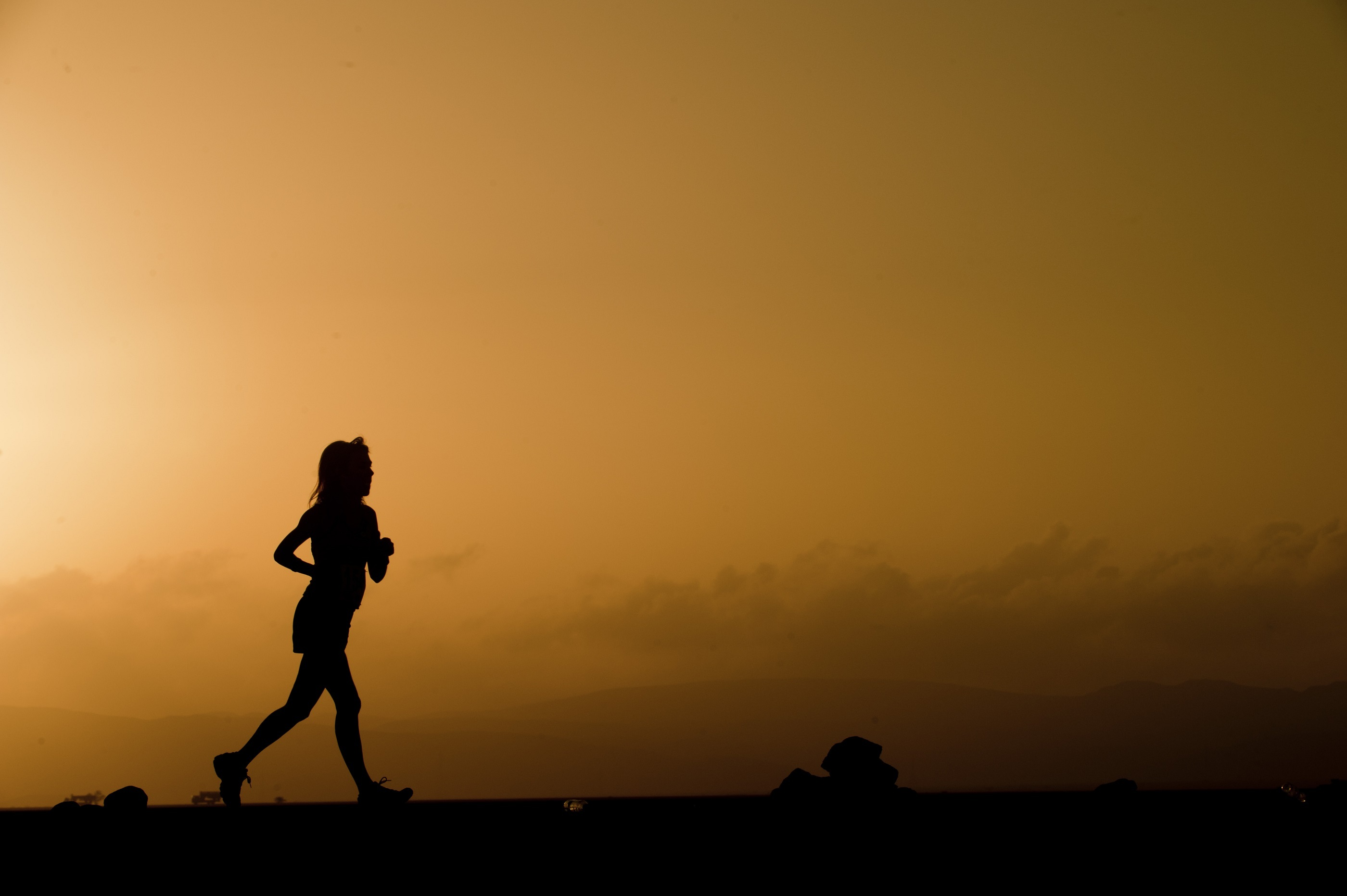Silhouette running photo