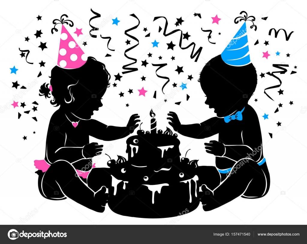 Silhouette baby boy girl twins with birthday cake with candle ...