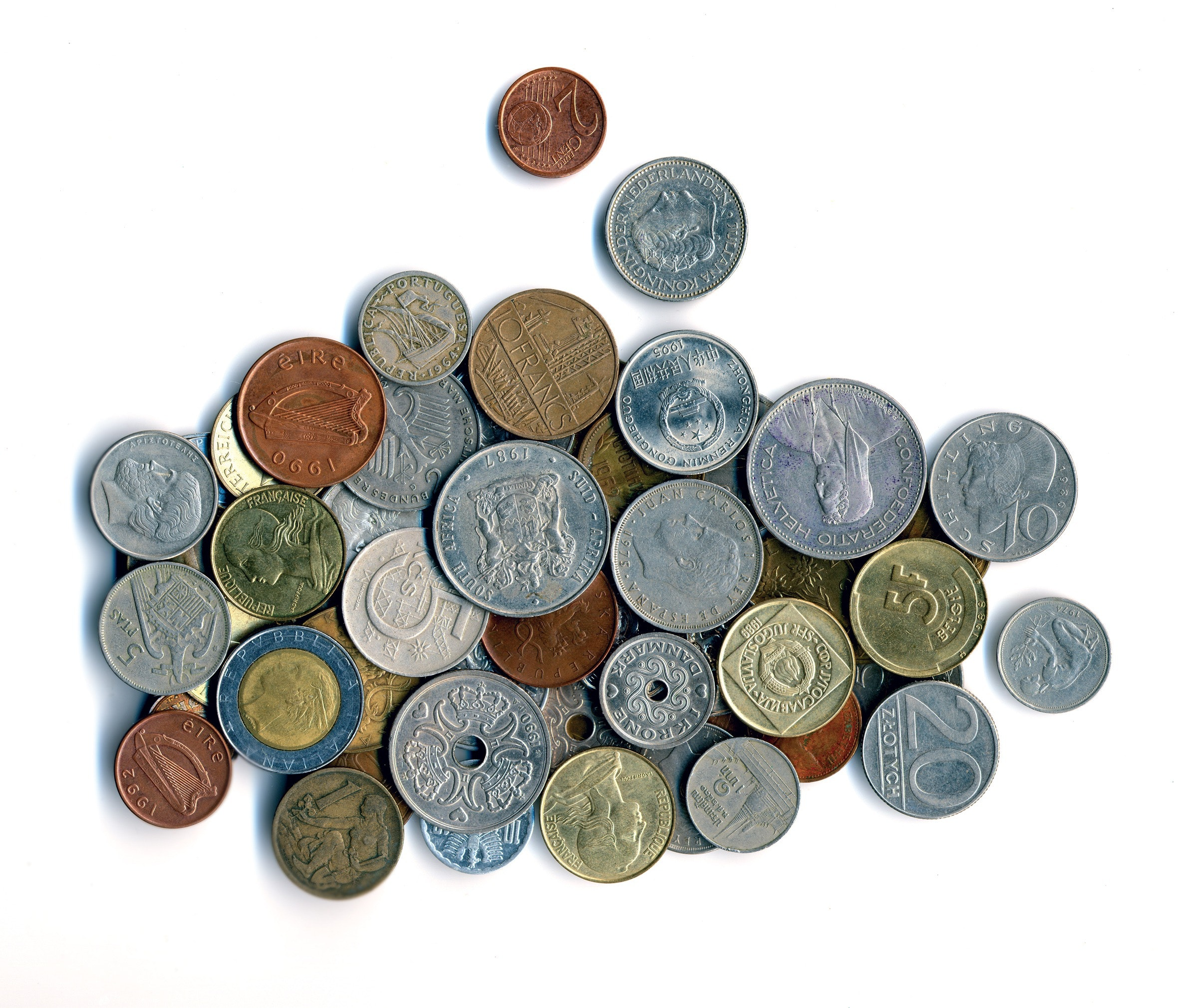 Silver and brass coins photo