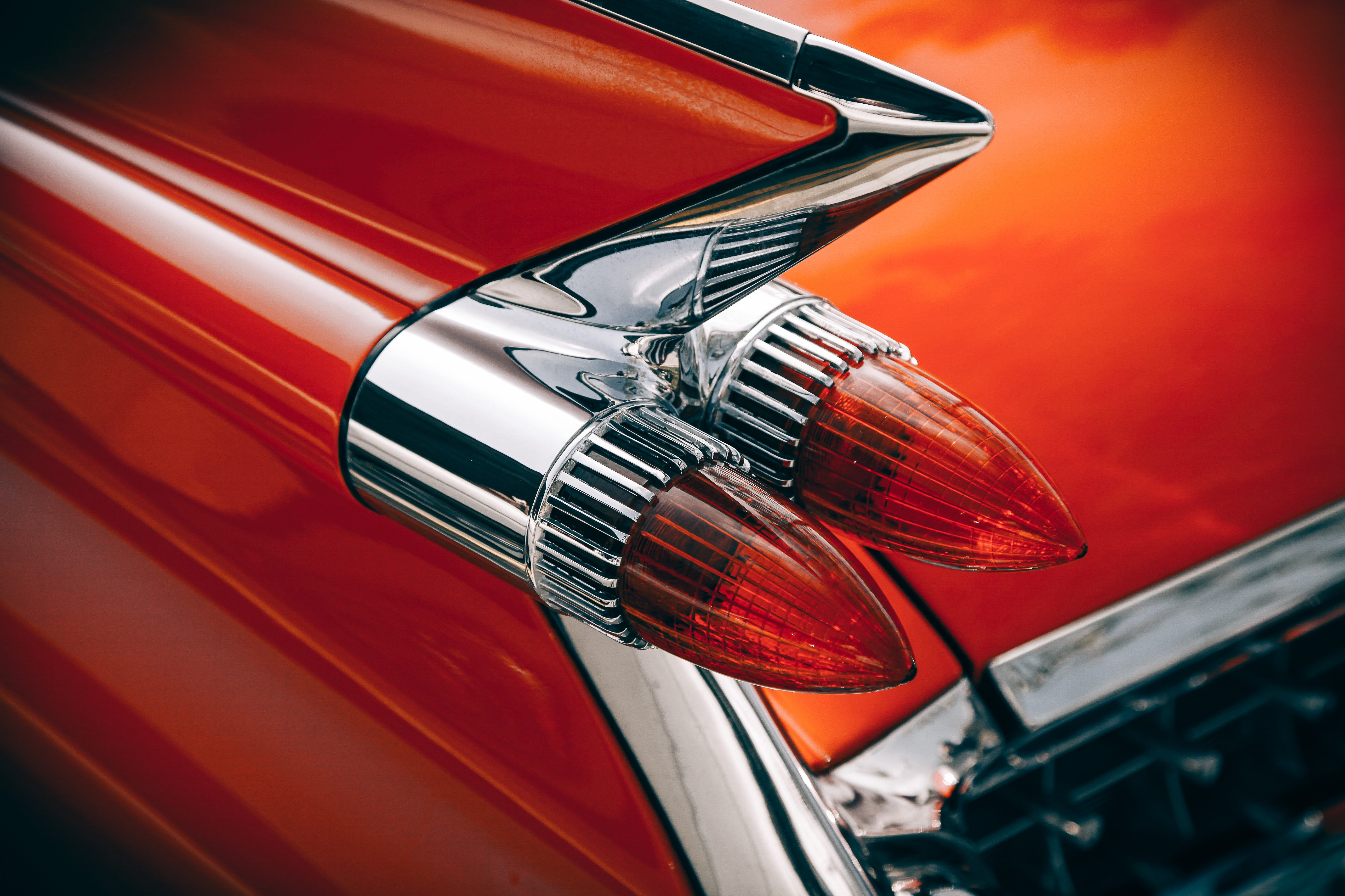Silver and red vintage tail lights photo