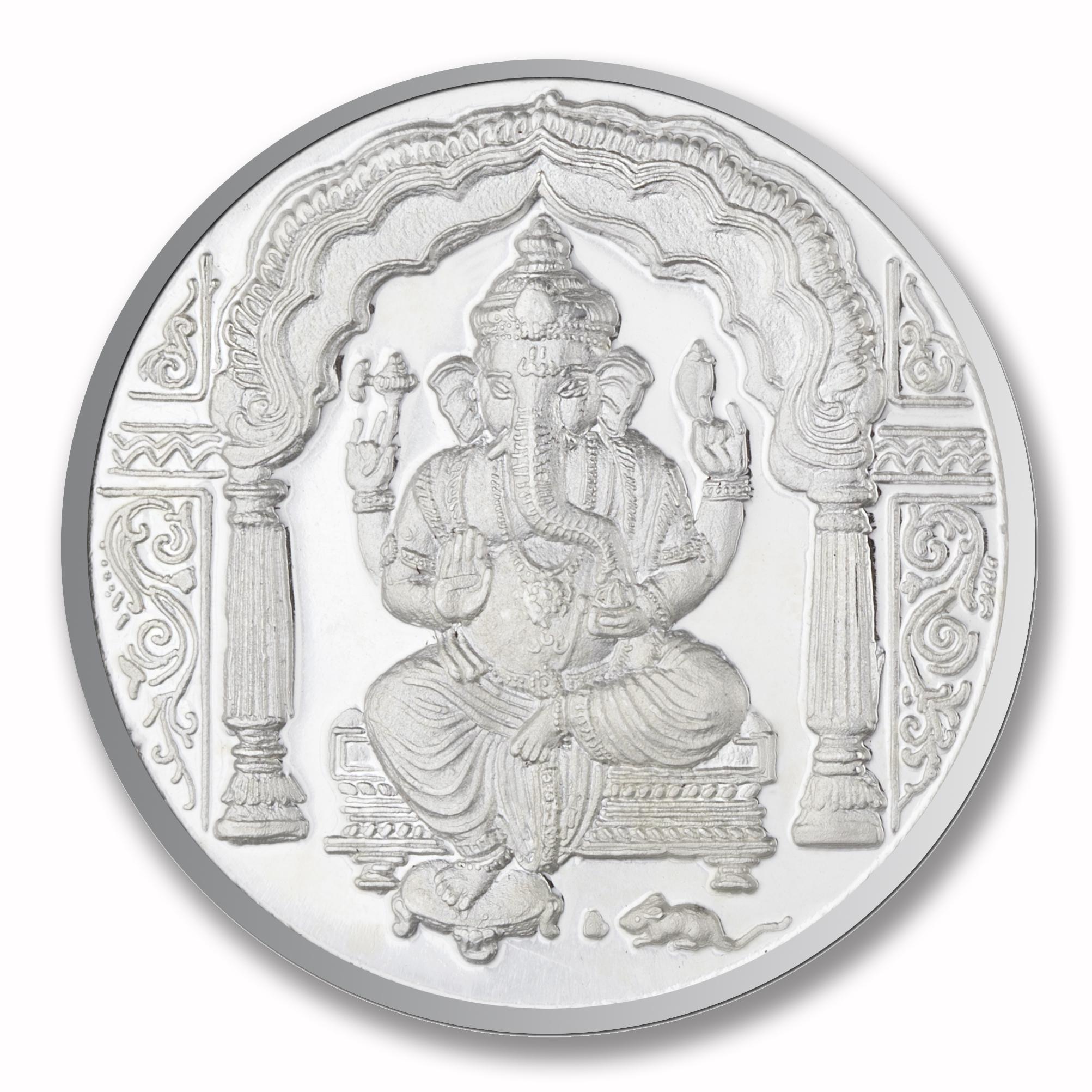 Silver, 50 gms Ganesha Om Silver Coin