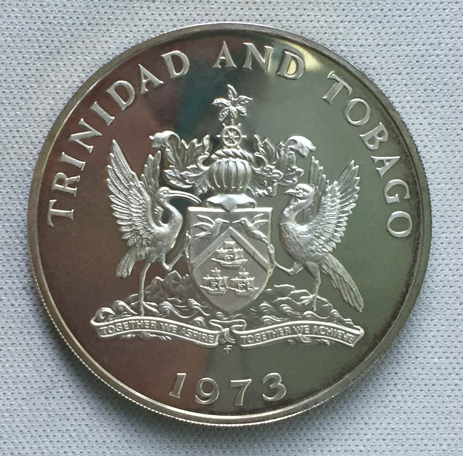 1973 Trinidad and Tobago 5 Dollars .925 Silver Coin - Proof - for ...
