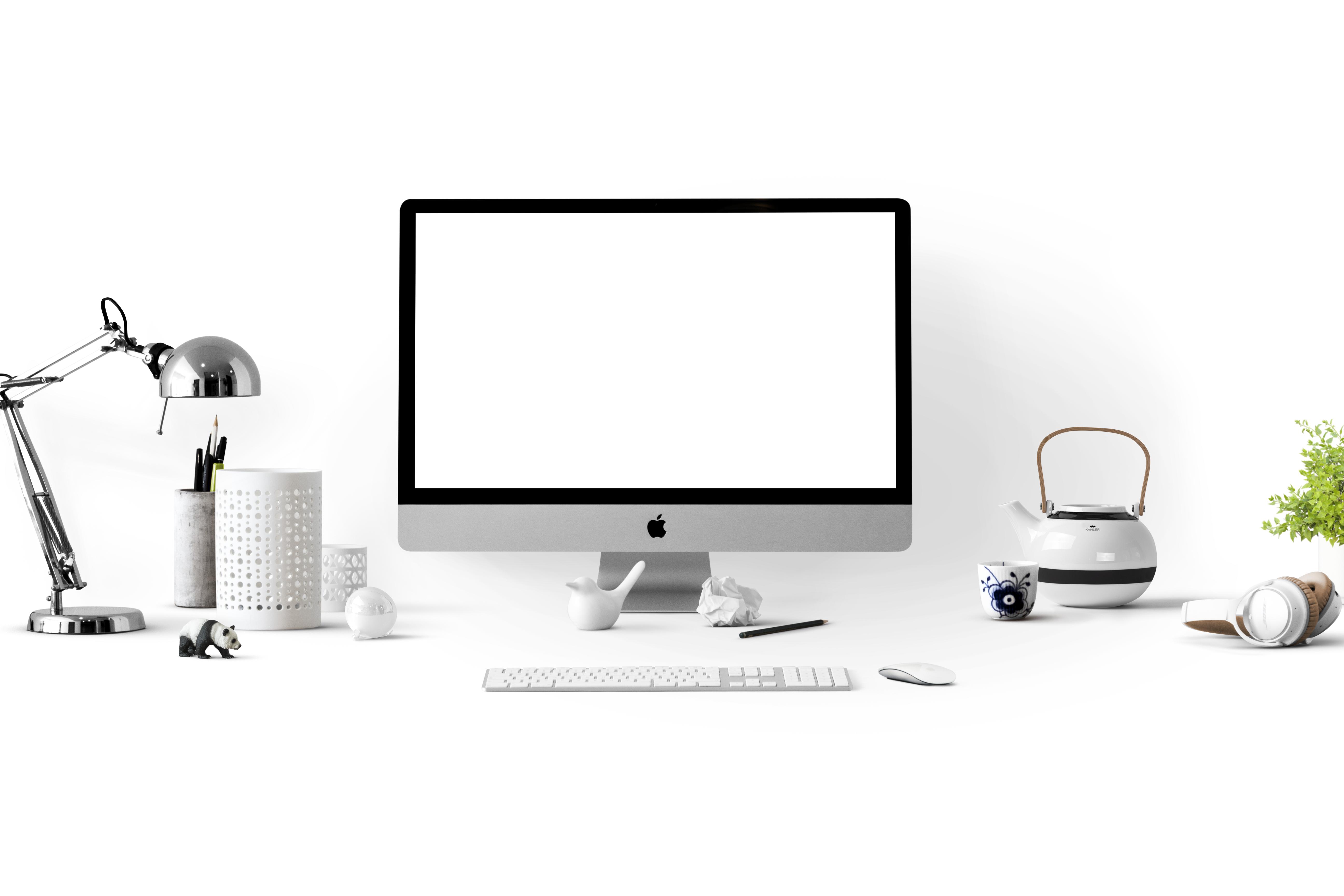 Silver Imac Near White Ceramic Kettle, Apple, Technology, Teapot, Screen, HQ Photo