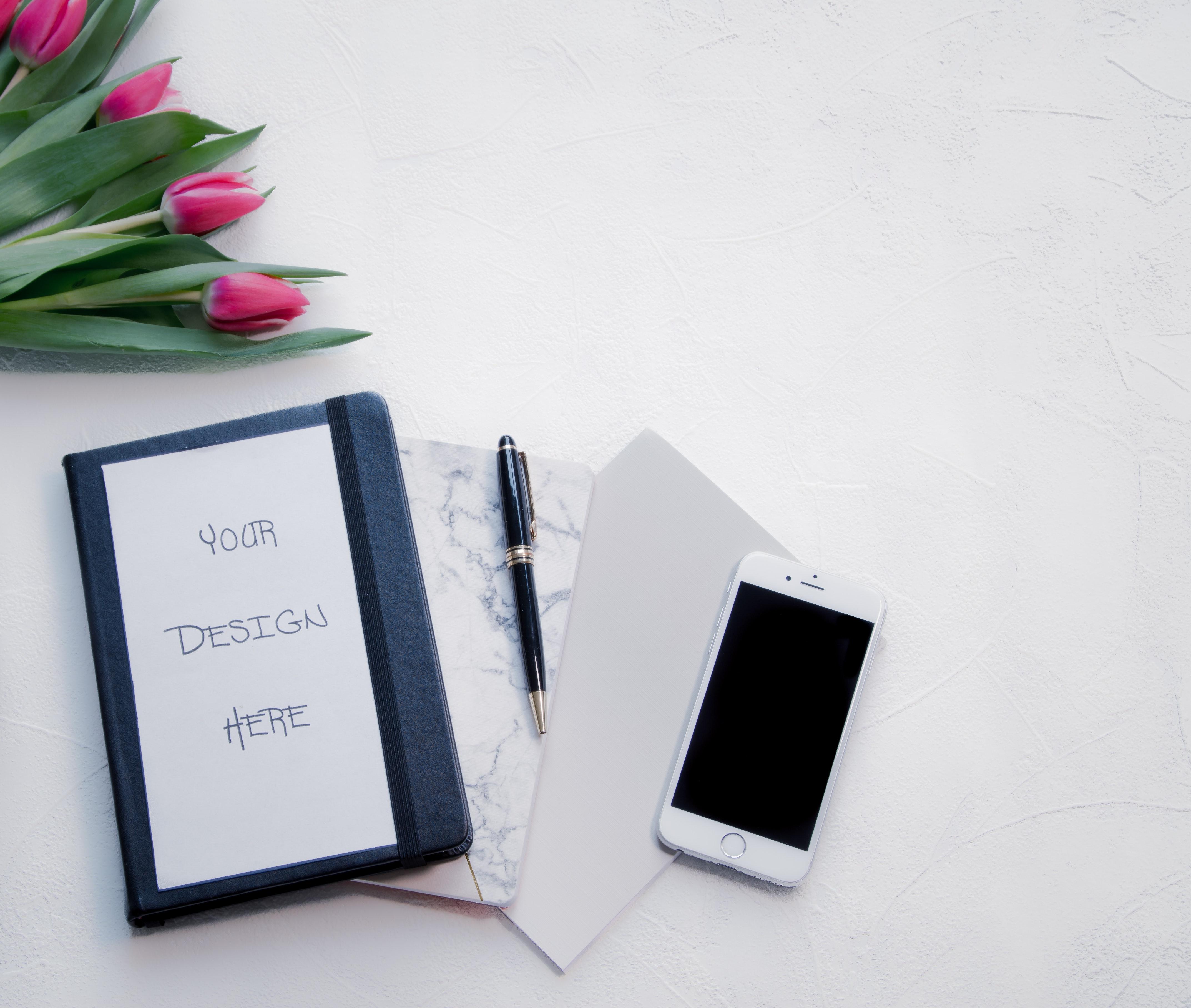 Silver iphone 6 beside black twist pen photo