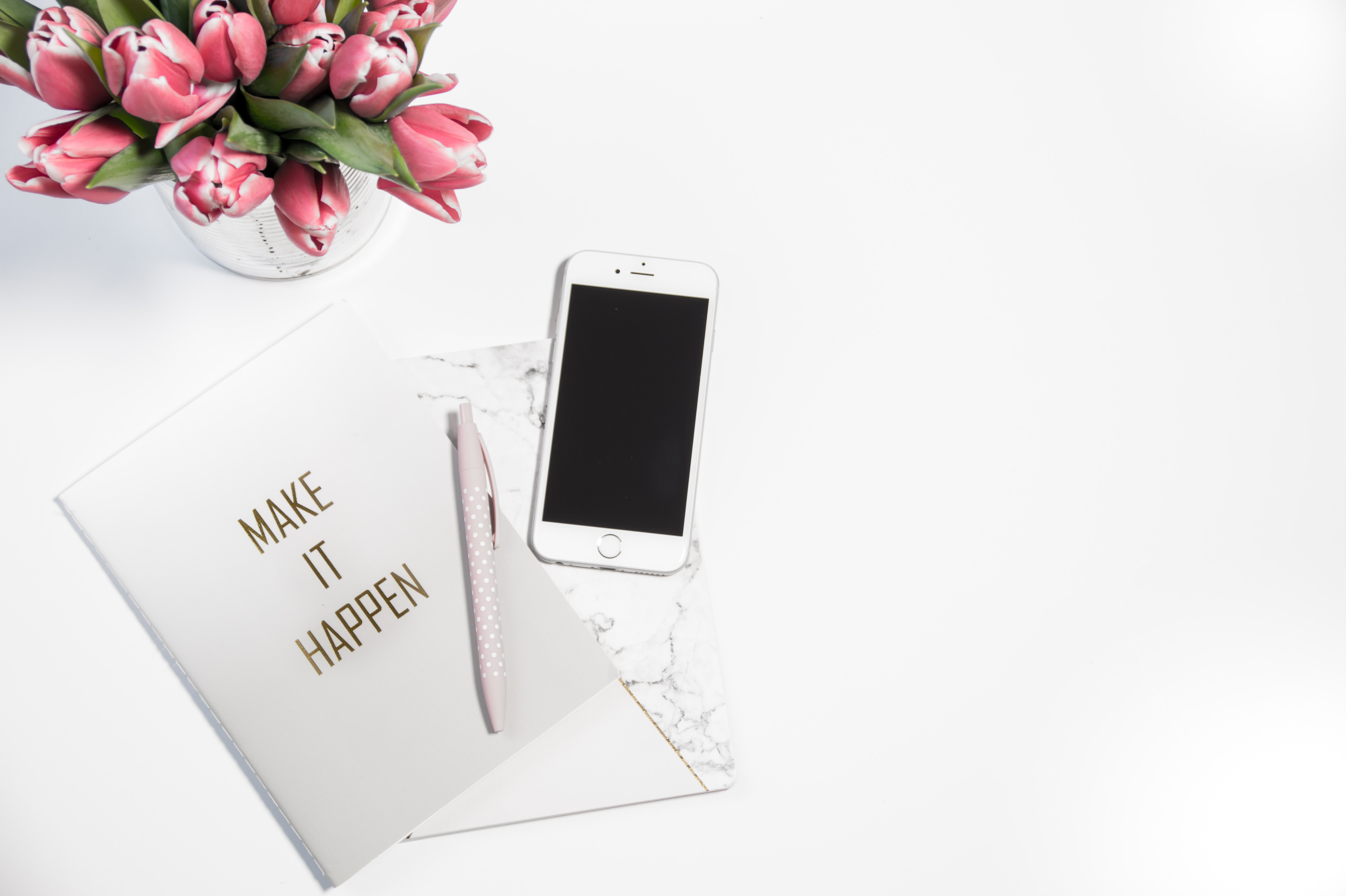 Silver Iphone 6 Beside Click Pen and Card, Ballpen, White background, White, Tulips, HQ Photo