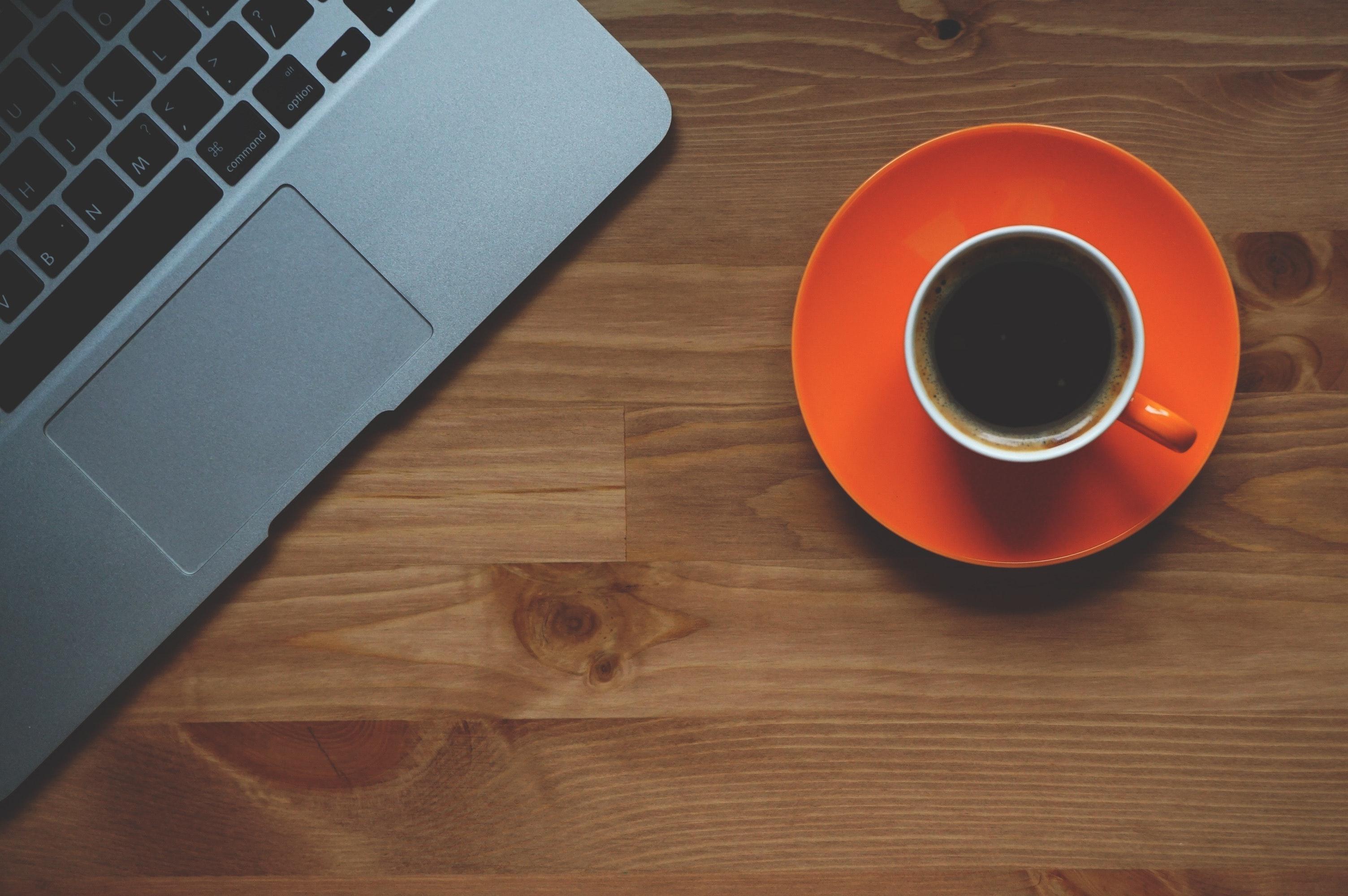 Black Coffee Filled in White Ceramic Mug on Orange Plate · Free ...