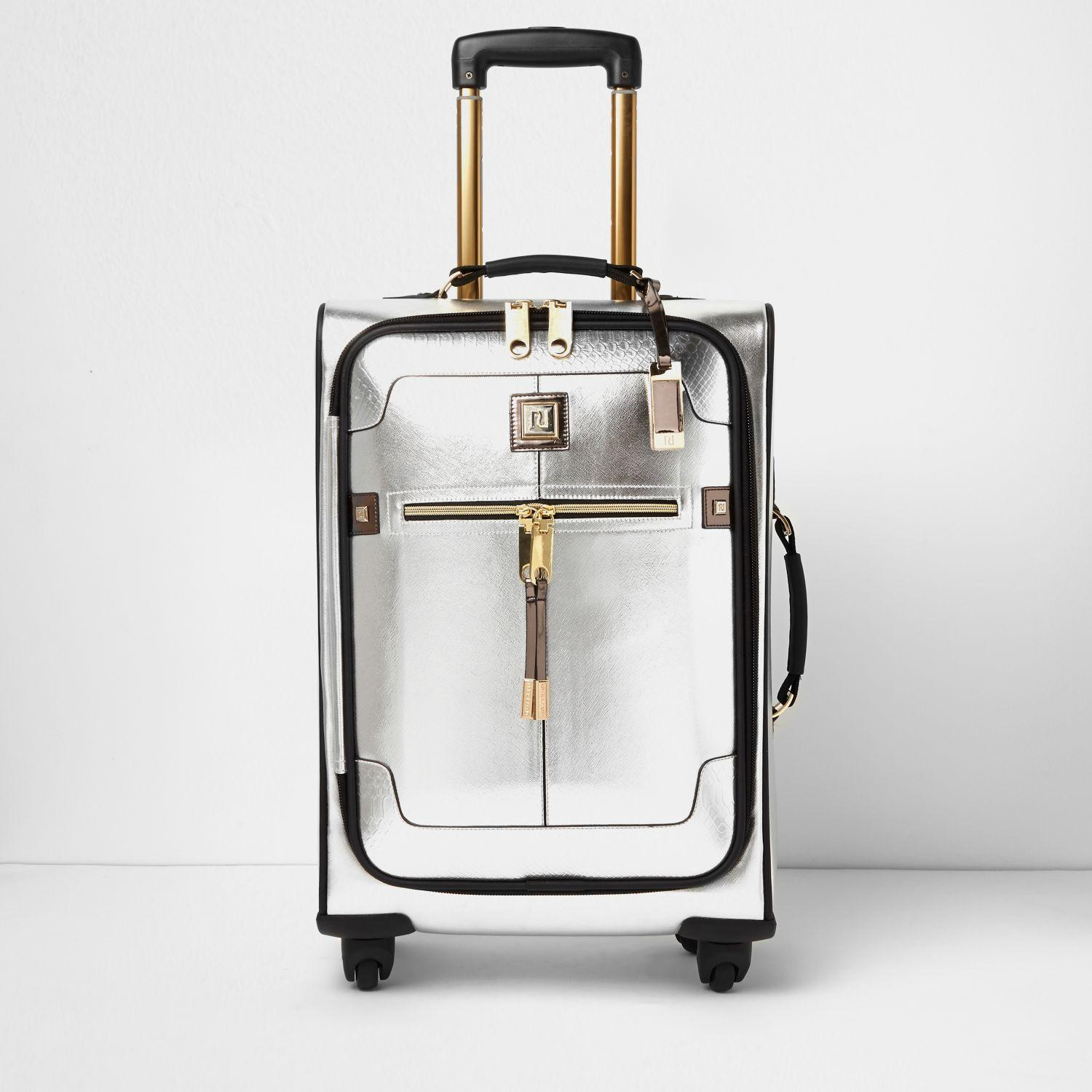 Lyst - River Island Silver And Gold Trim Suitcase in Metallic
